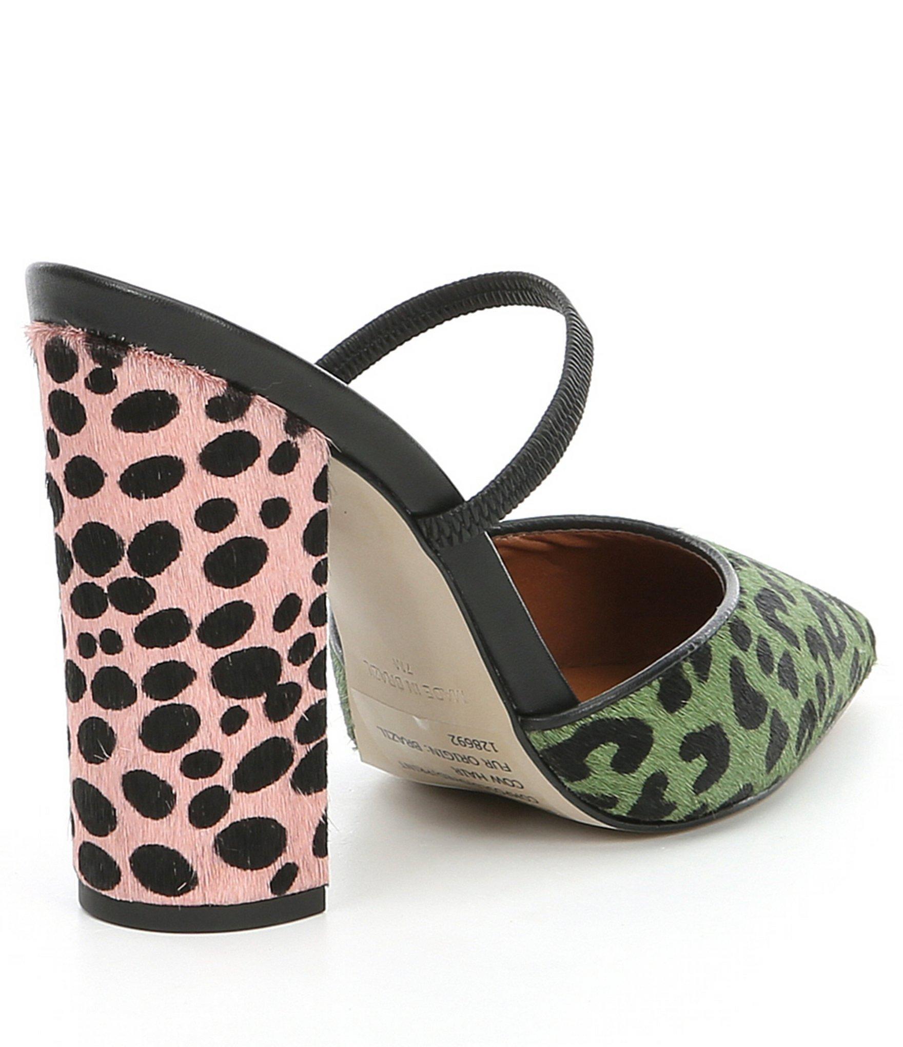 2cdc53107b2 Women's Peaked-l Haircalf Leopard Block-heel Pumps