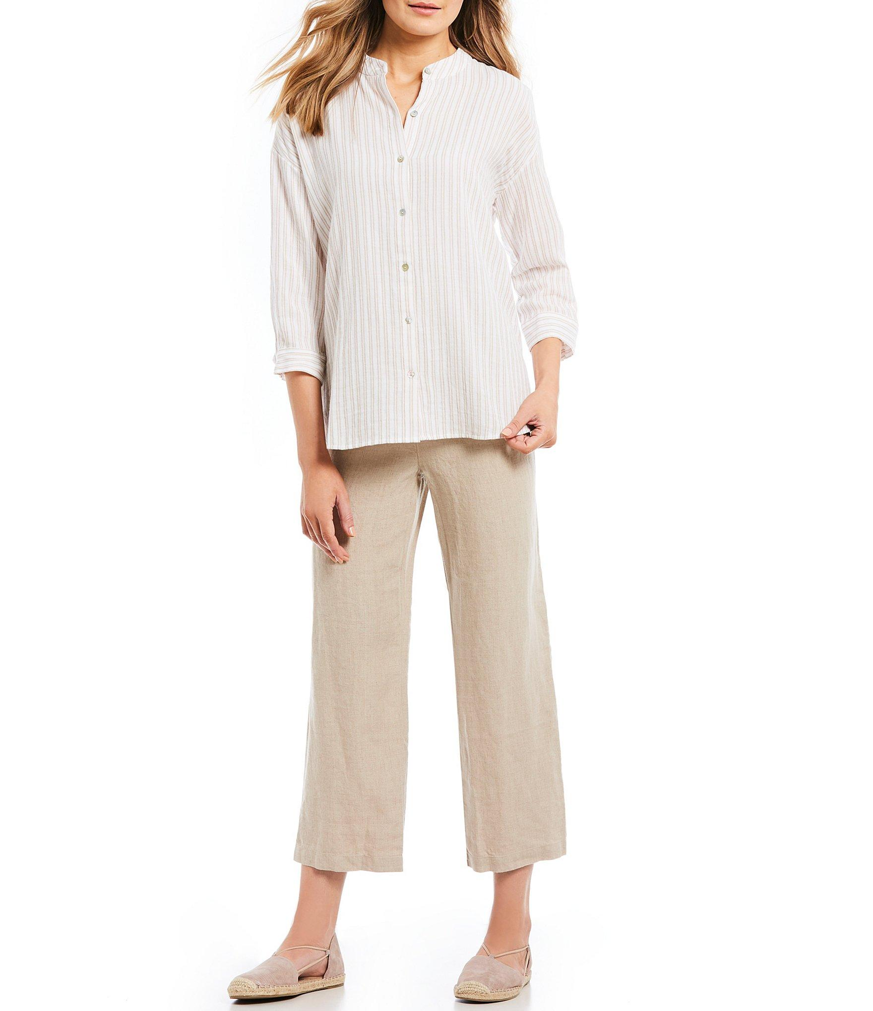c53e5aab179 Eileen Fisher - Multicolor Mandarin Collar Striped Boxy Button Front Shirt  - Lyst. View fullscreen