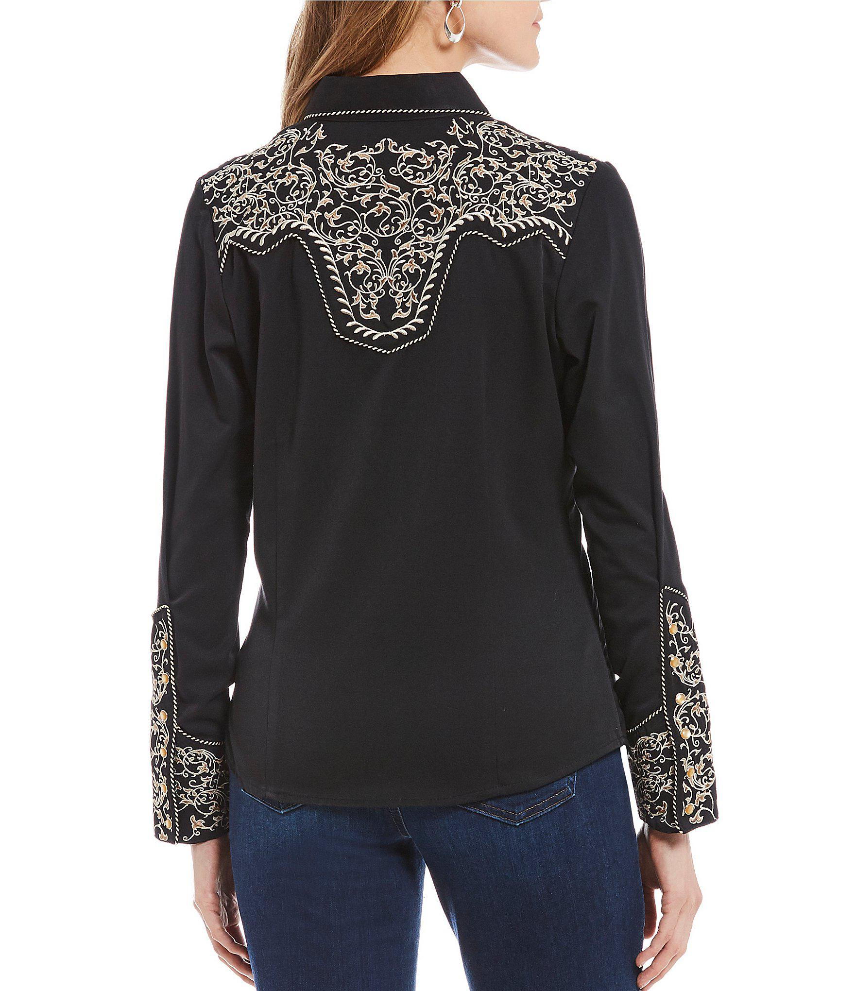 c9749440ccb2a6 Lyst - Scully Two-tone Scroll Embroidered Western Shirt in Black