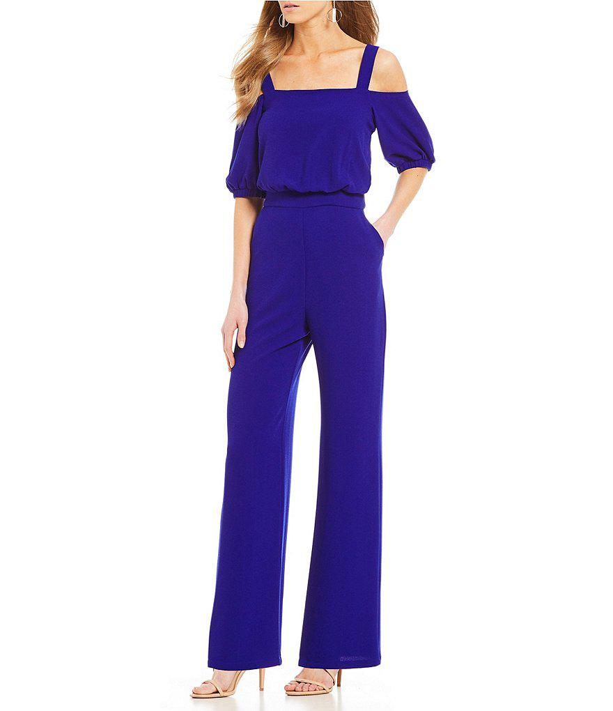 e4ad2bc9b262 Lyst - Vince Camuto Cold Shoulder Jumpsuit in Black