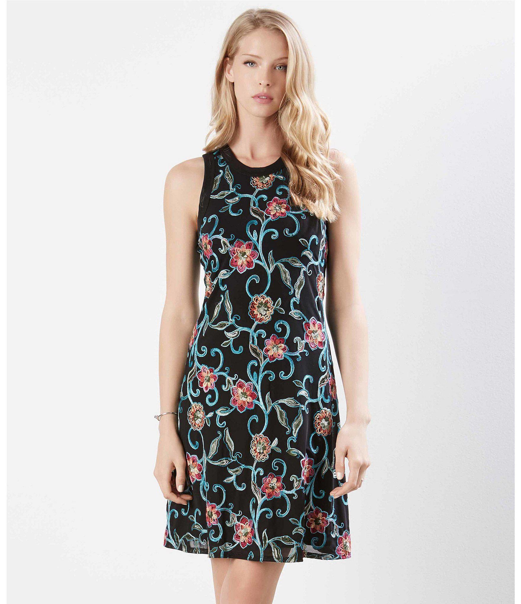 a633de21a34 Lyst - Karen Kane Embroidered Mesh Halter Dress in Black