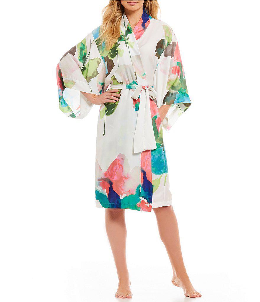 2a61523775 Lyst - Natori Water Lily Satin Wrap Robe