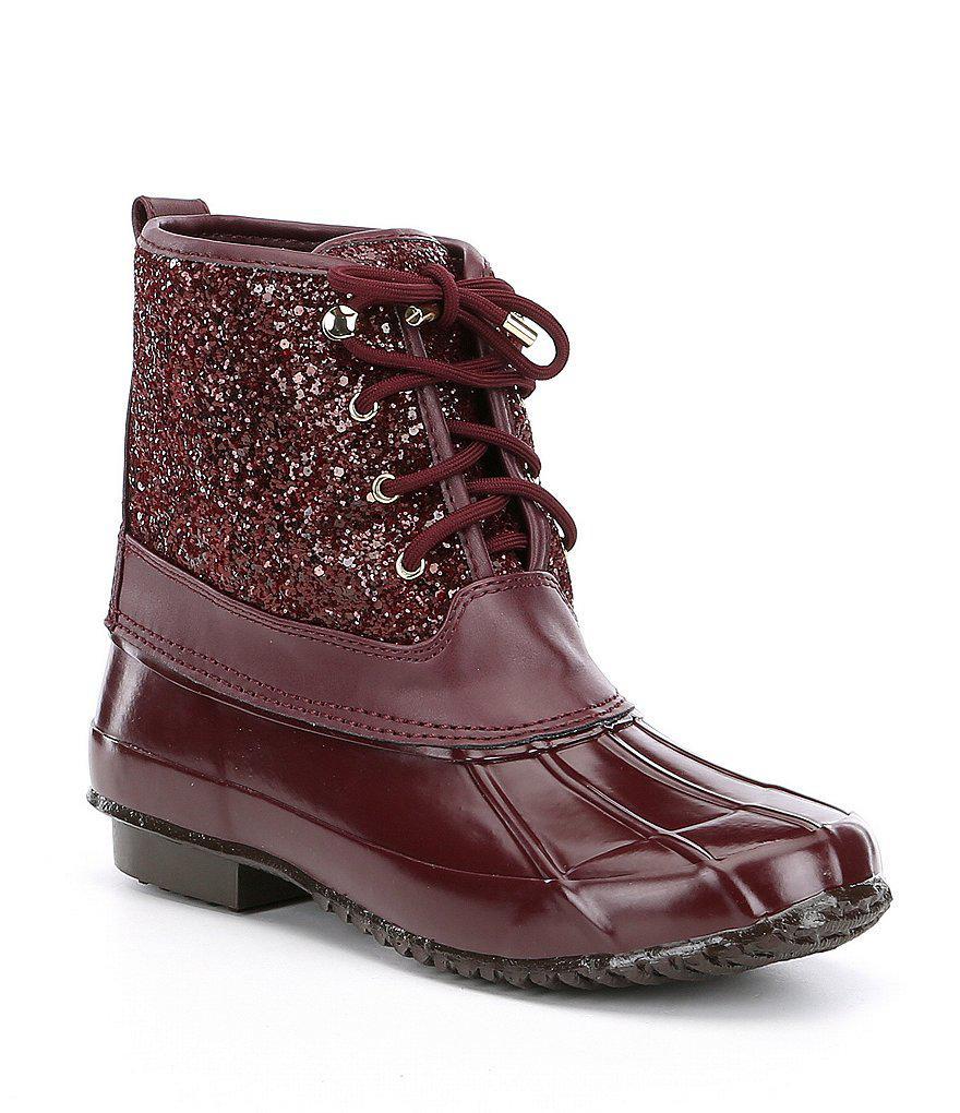 a91add5a1690 Gianni Bini Stormie Glitter Duck Boots - Lyst
