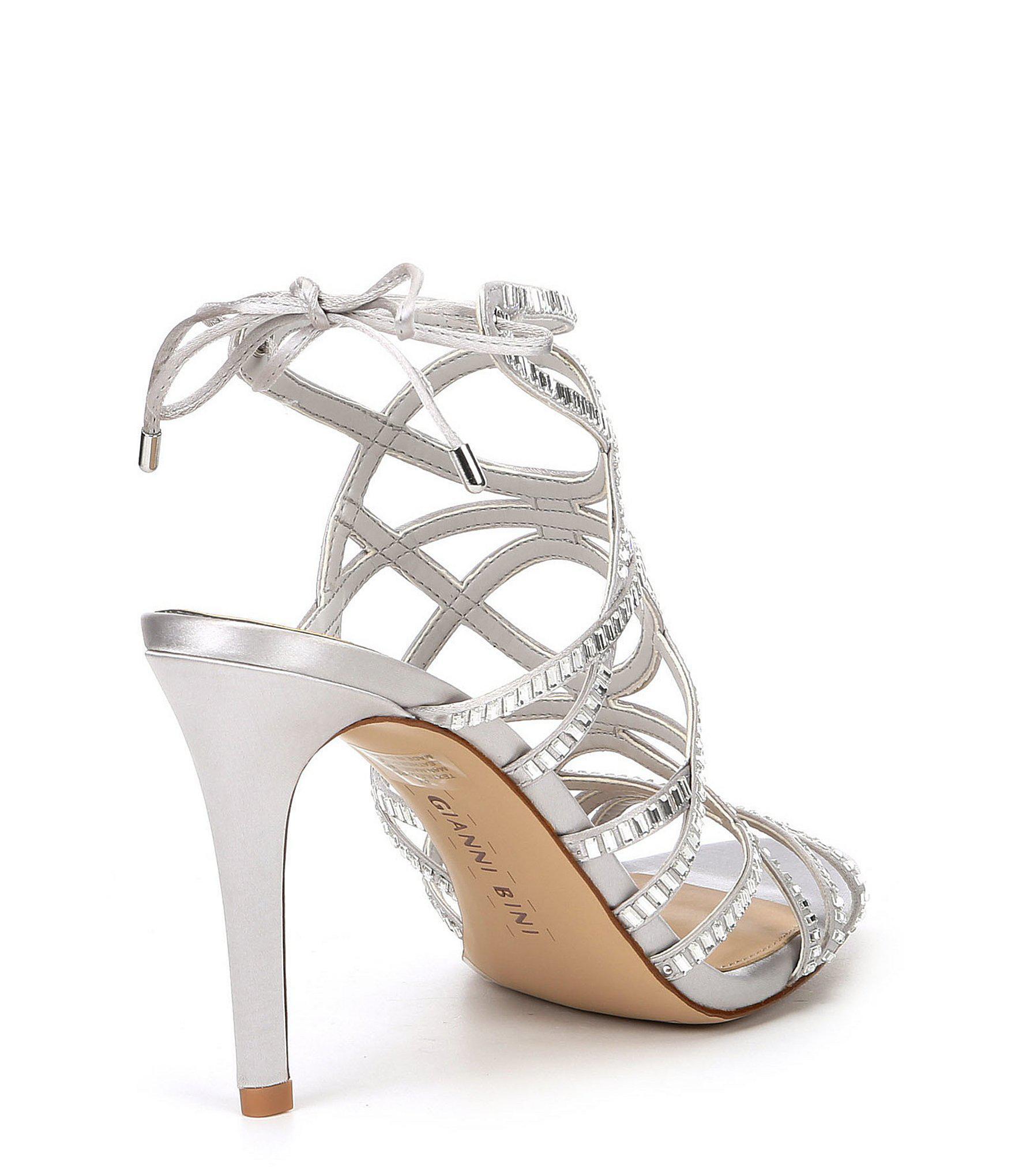 5408c5c63384 Lyst - Gianni Bini Kellzie Satin Jeweled Caged Dress Sandals in Metallic
