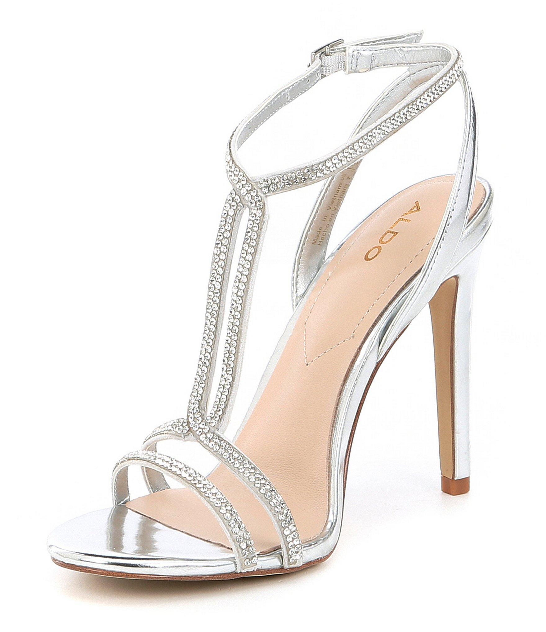 b0868c82794 ALDO Dovyan Embellished Heeled Sandals In Silver in Metallic - Lyst