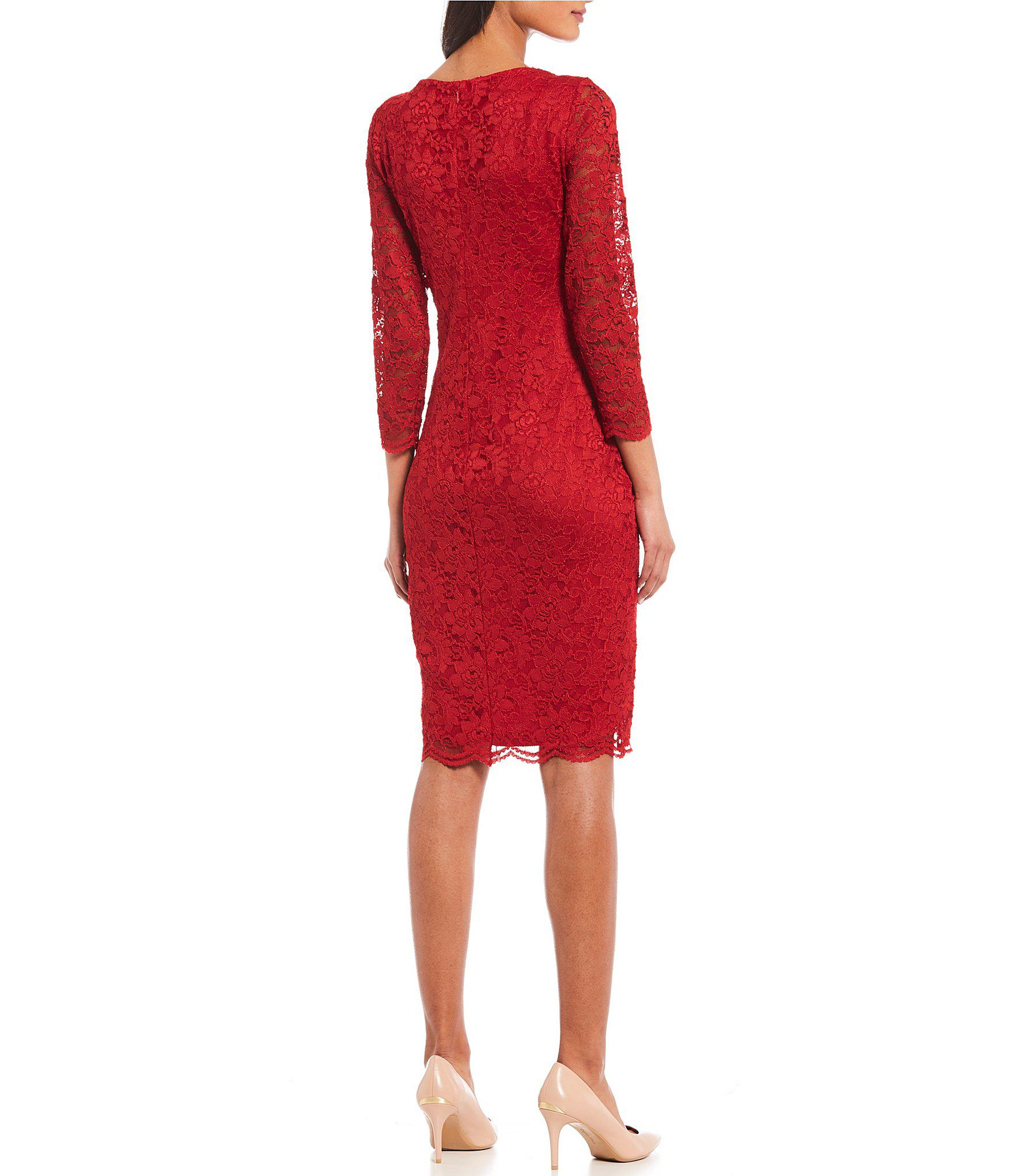531b07935e3 Lyst - Calvin Klein 3 4 Sleeve Lace Sheath Dress in Red
