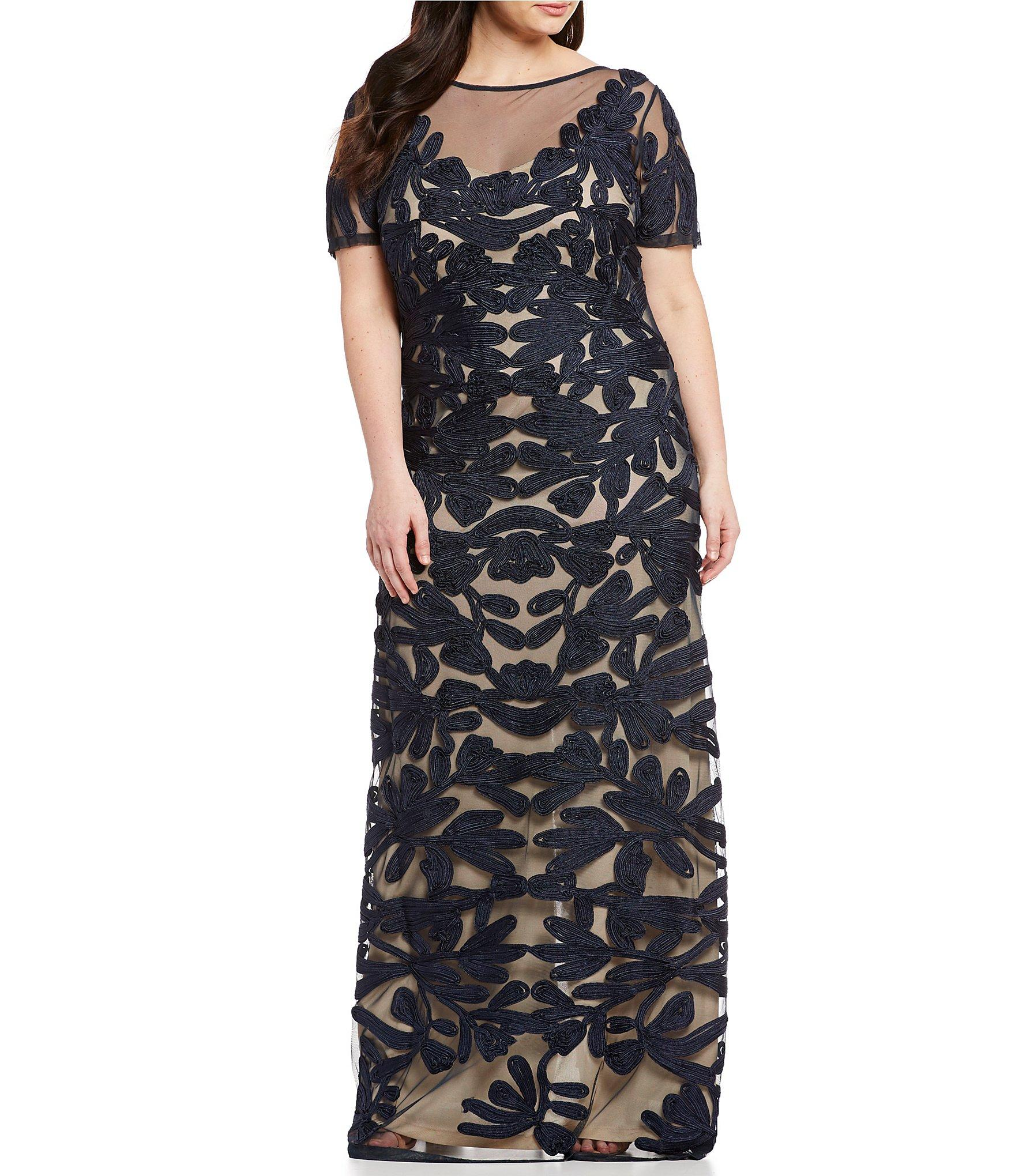 b2496b26362e14 JS Collections. Women's Blue Plus Size Illusion Neck Short Sleeve  Embroidered Soutache Gown