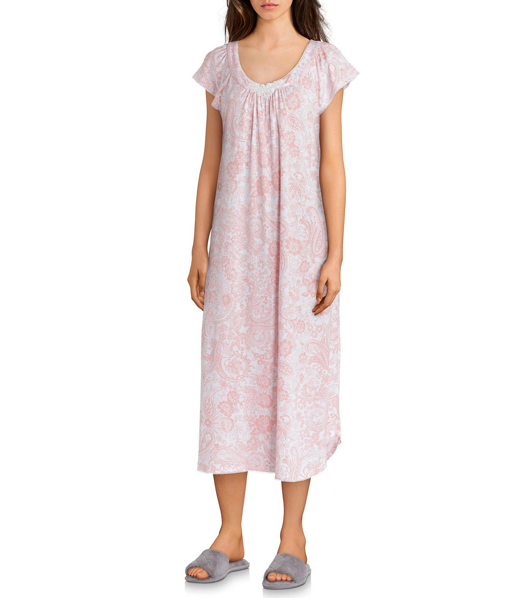 6026b8b725 Lyst - Miss Elaine Luxe Knit Paisley-print Long Nightgown in Pink