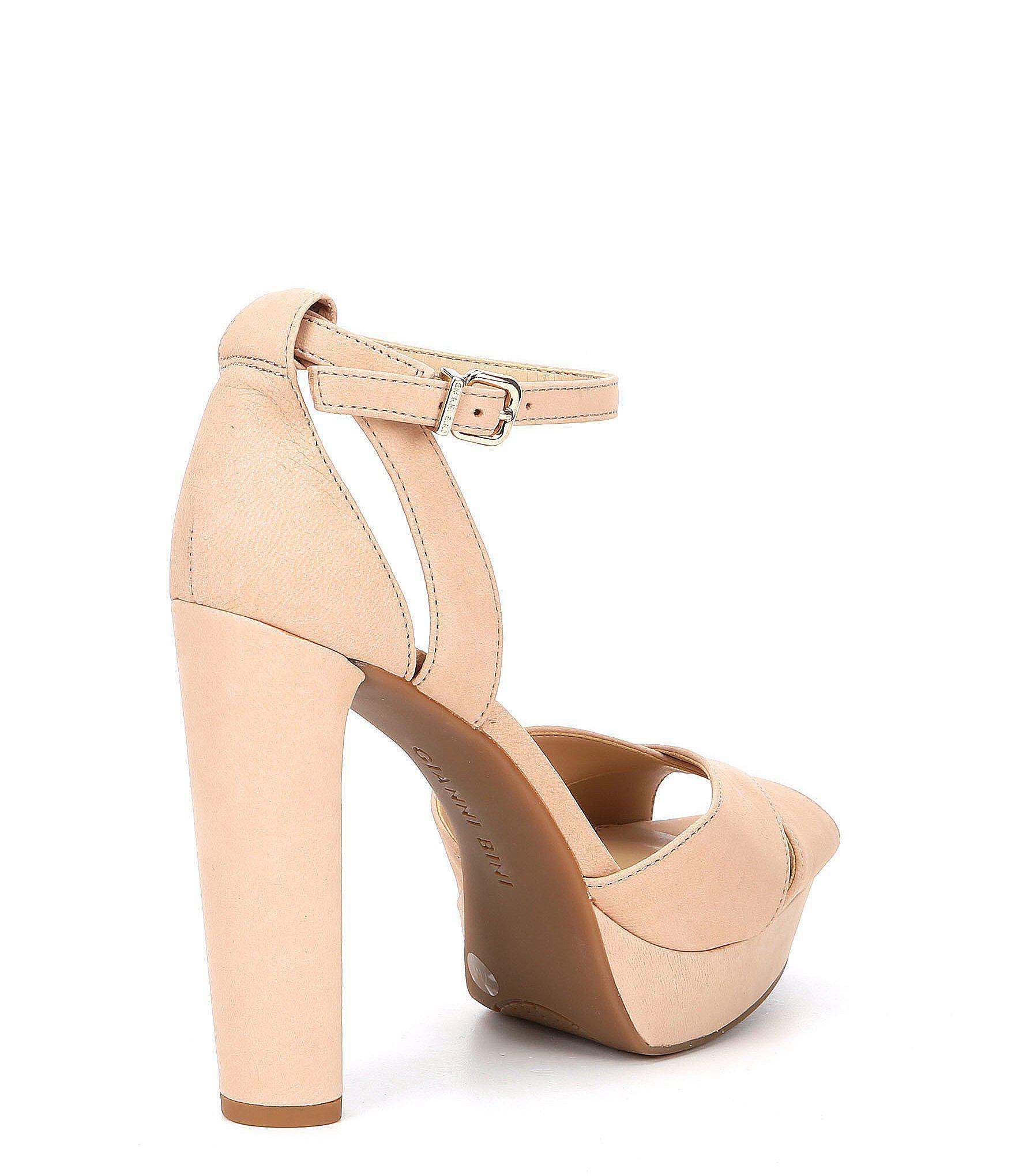 9b7b972085 Gianni Bini Lydianne Nubuck Platform Dress Sandals in Natural - Lyst