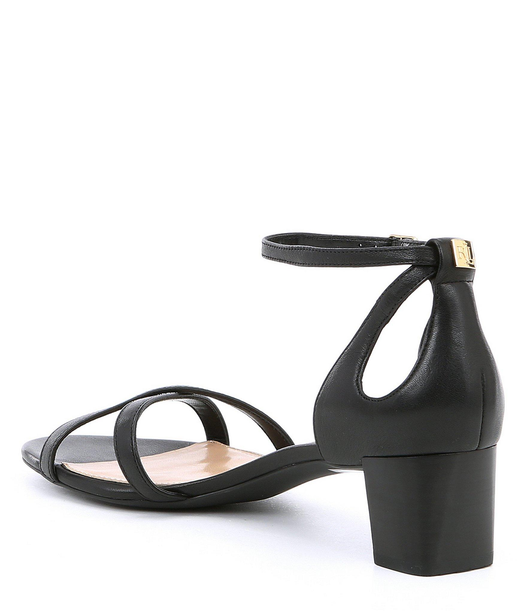 eaf1960379a Lauren by Ralph Lauren - Black Folly Leather Block Heel Dress Sandals -  Lyst. View fullscreen