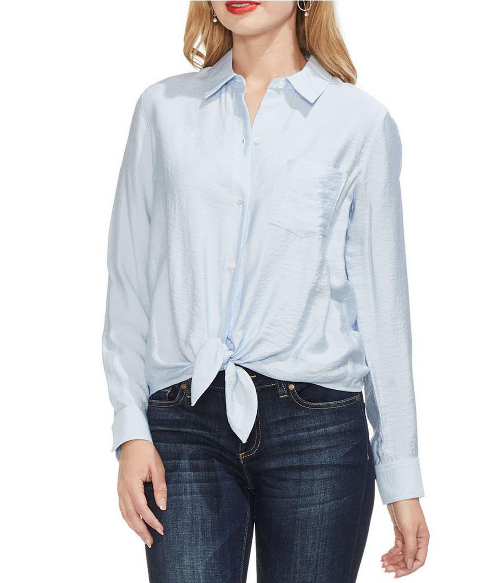 bf8544cb Lyst - Vince Camuto Flowy Button Down Woven Shirt in Blue - Save 40%