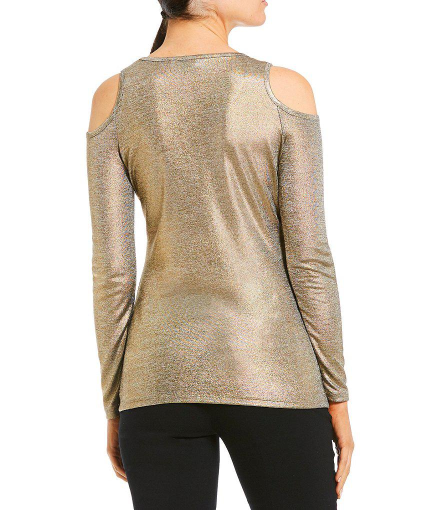 0123fc9038663 Lyst - MICHAEL Michael Kors Metallic Foiled Knit Cold Shoulder Top ...