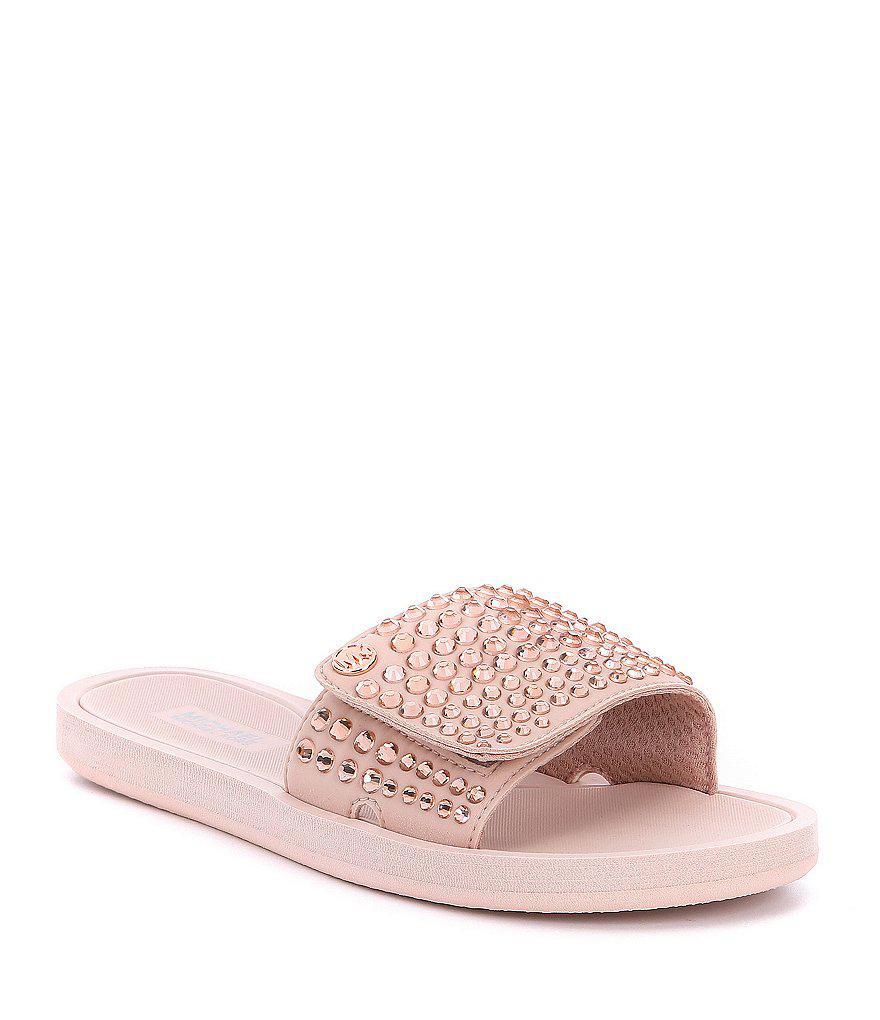 dba3391b3f0f Lyst - MICHAEL Michael Kors Mk Hot Fix Stone Slide Sandals in Pink