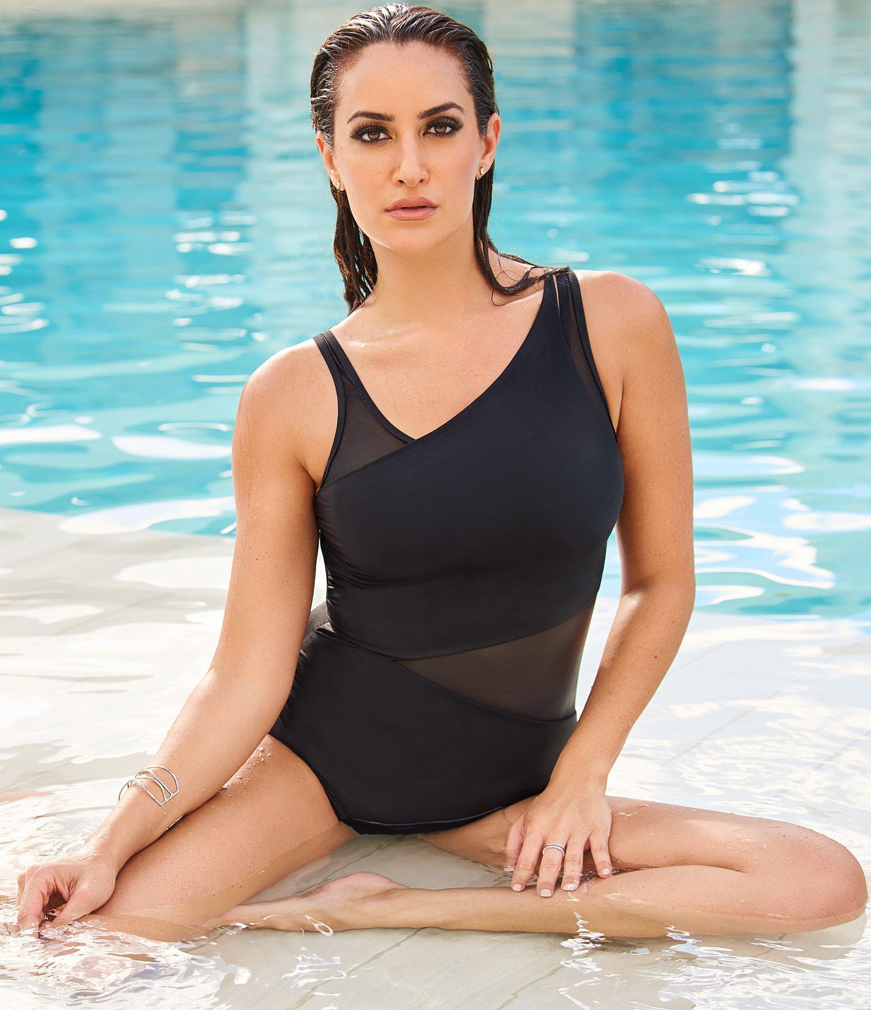 56ce4fb911 Miraclesuit - Black Azura Mesh High-neck One-piece Swimsuit - Lyst. View  fullscreen
