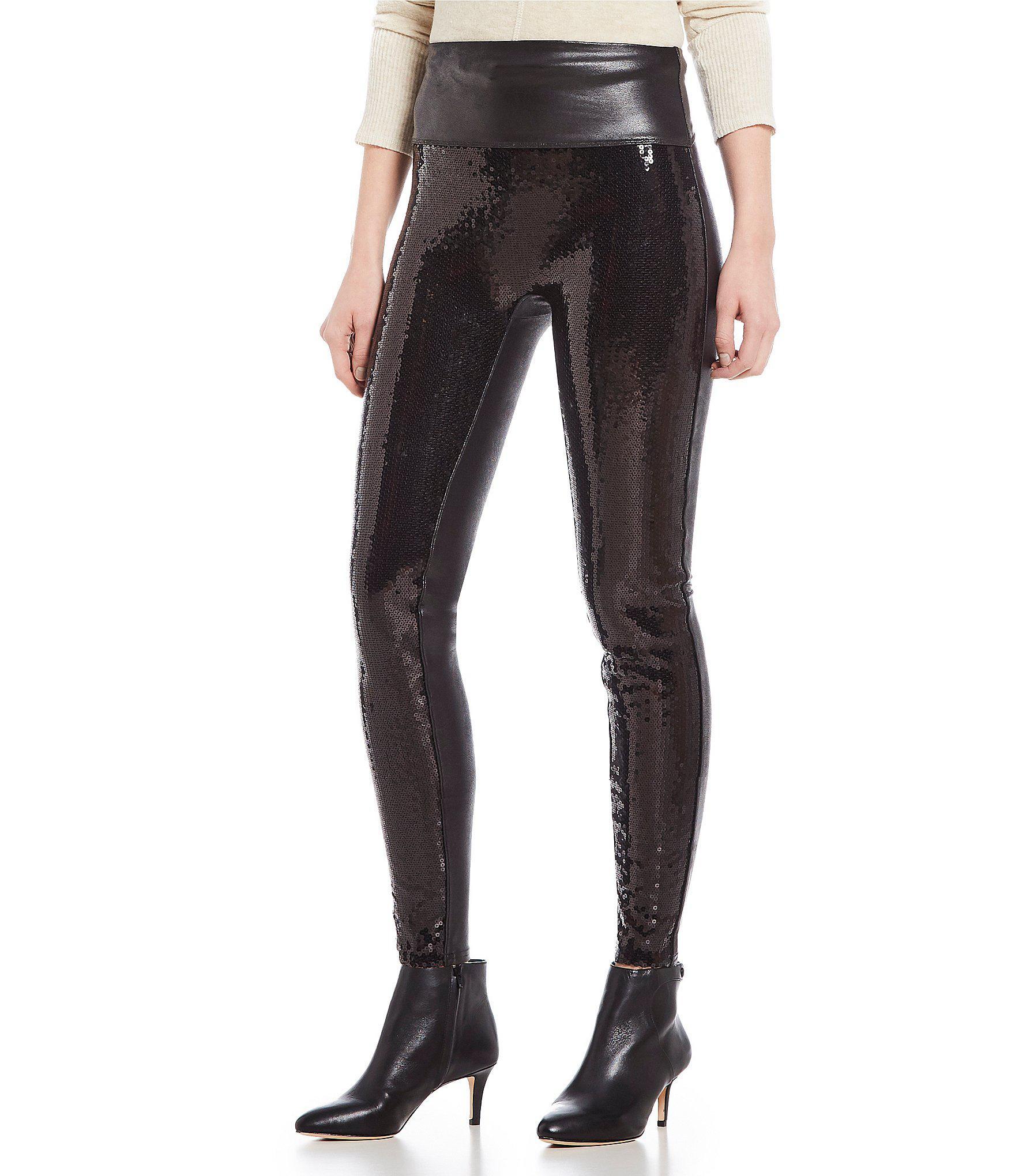 75e0c9da098c5 Spanx Faux Leather Sequin Legging in Black - Lyst
