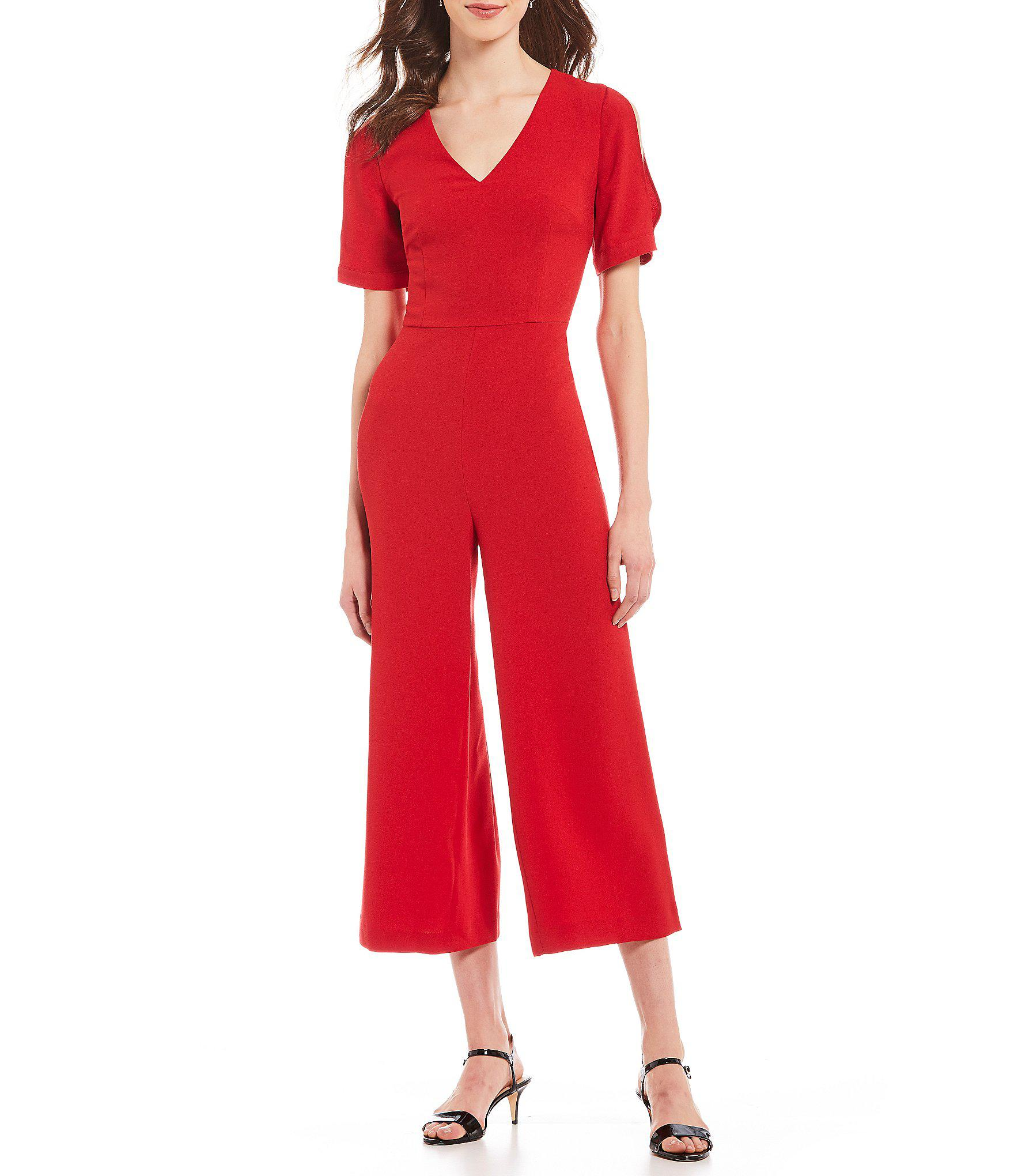 d39355b2543 Karl Lagerfeld. Women s Red Puffed Statement Shoulder V-neck Culotte  Jumpsuit