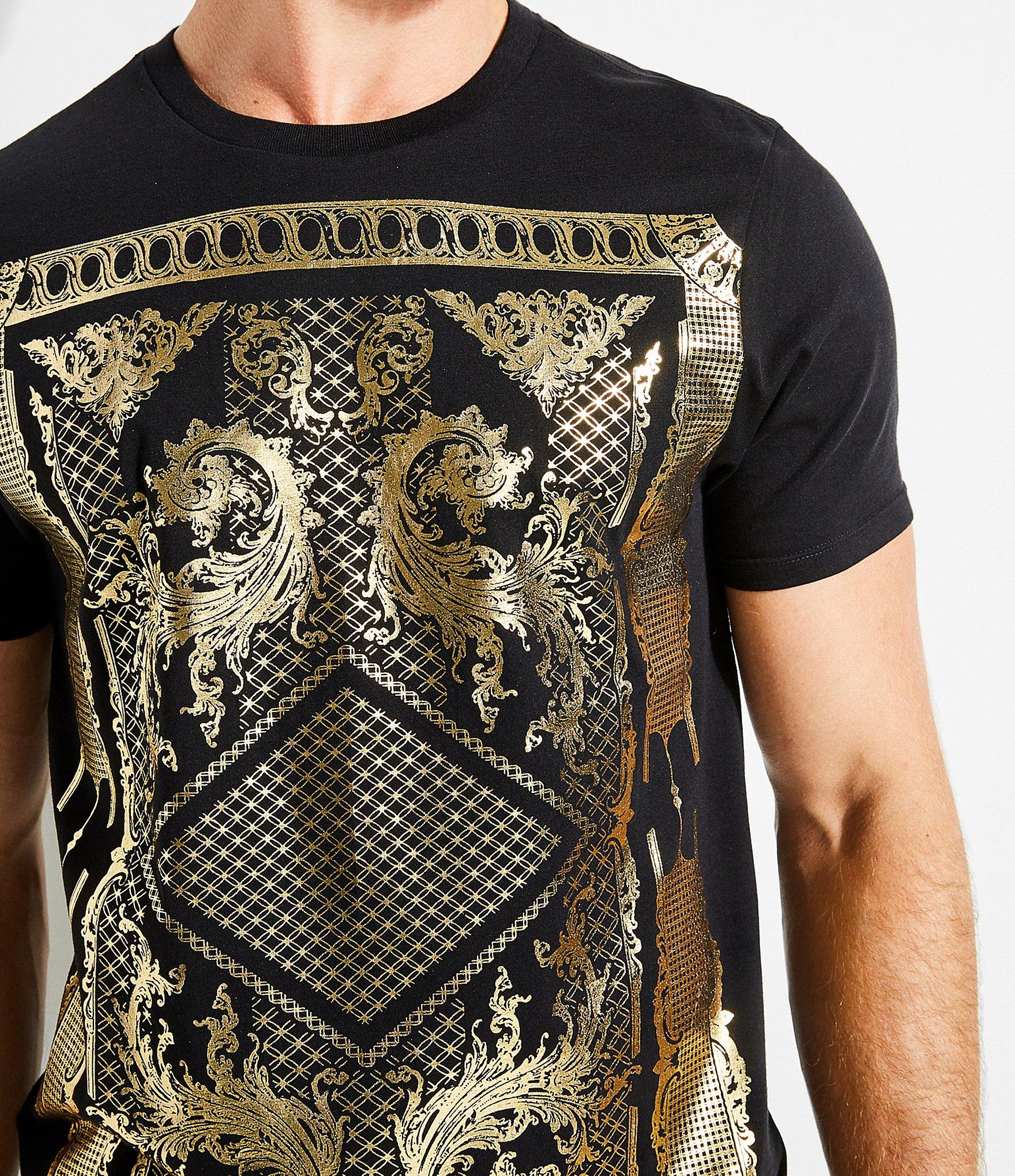 865f338c0a Guess - Black Short-sleeve Victorian Foiled Graphic Crew T-shirt for Men -.  View fullscreen