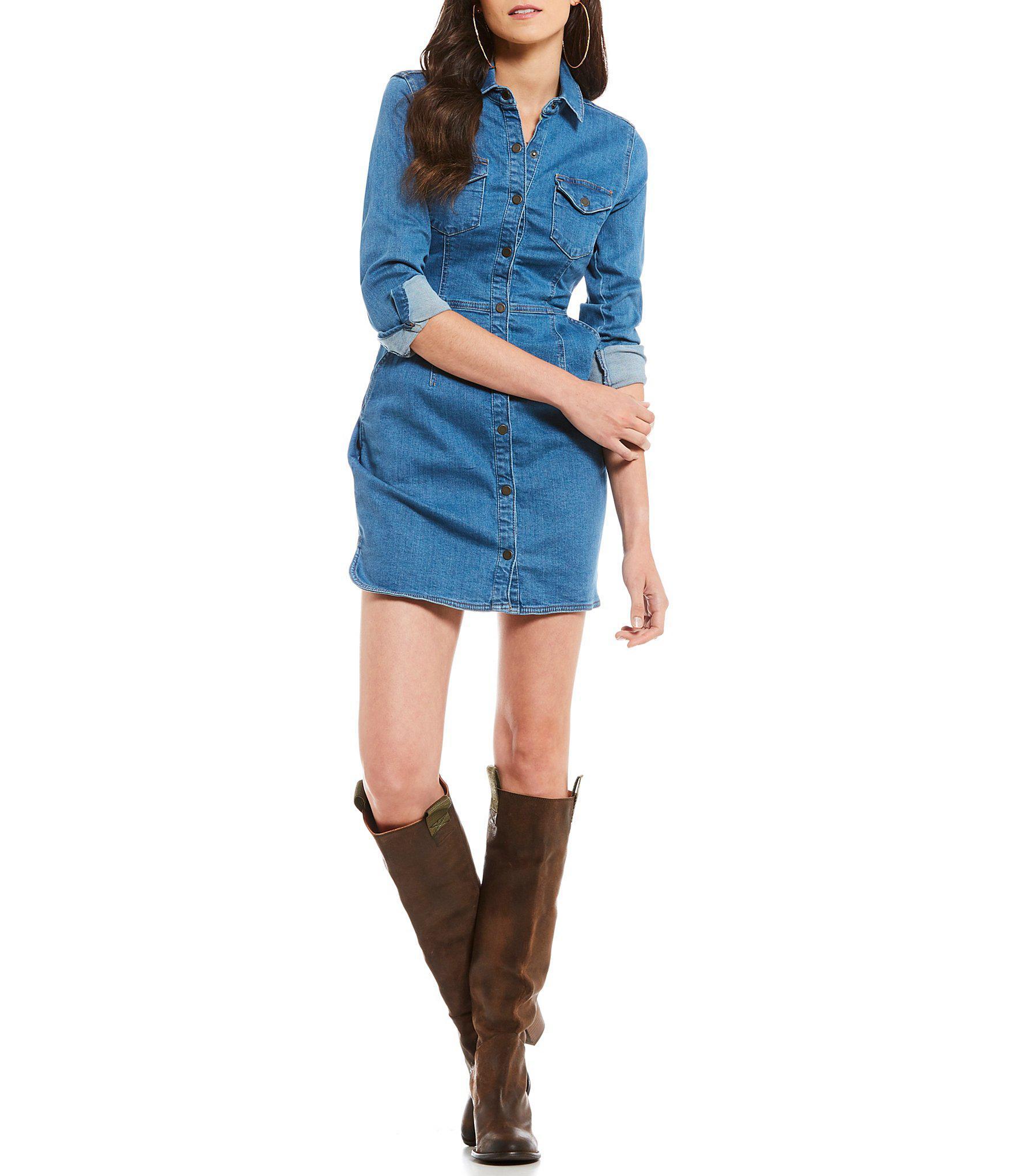d5371518119 Lyst - Free People Dynomite In Denim Western Inspired Mini Shirt ...