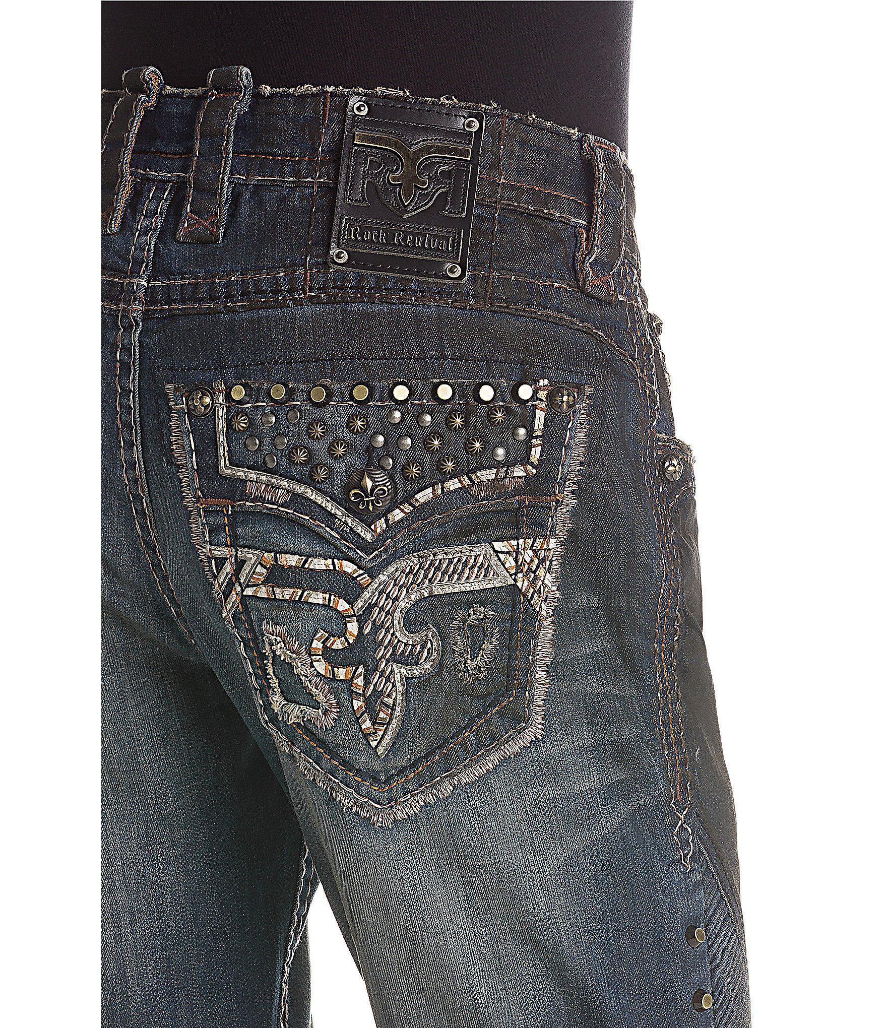 Rock Revival Blue Lampson K201 Biker Moto Jeans for men