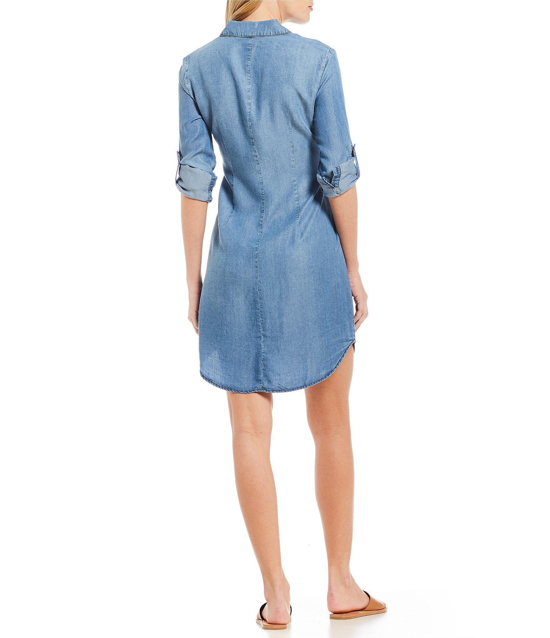 7d49d7f3f1 Cremieux Benjamin Tie Front Denim Chambray Shirt Dress in Blue - Lyst