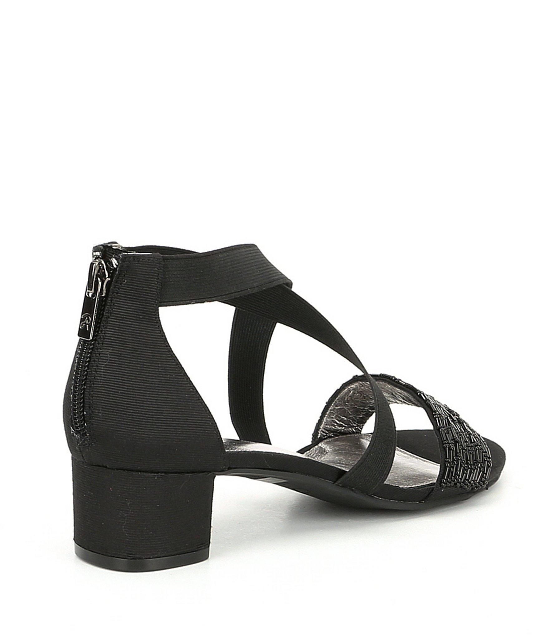 e8a25ada6 Adrianna Papell - Black Teagan Beaded Block Heel Dress Sandals - Lyst. View  fullscreen