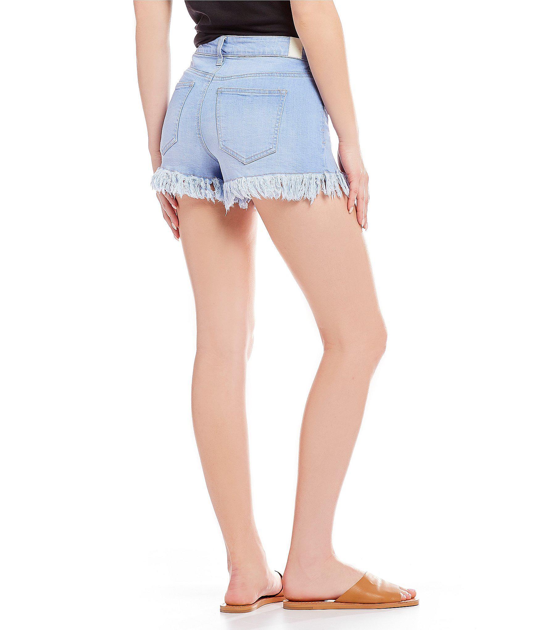 Celebrity Pink Womens High Rise Slit and Frayed Hem Shorts