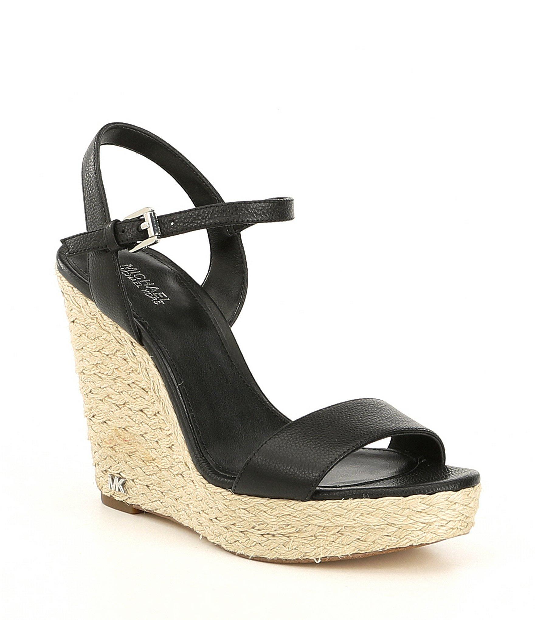 19c59d02b50a Lyst - MICHAEL Michael Kors Jill Espadrille Wedge Sandals in Black