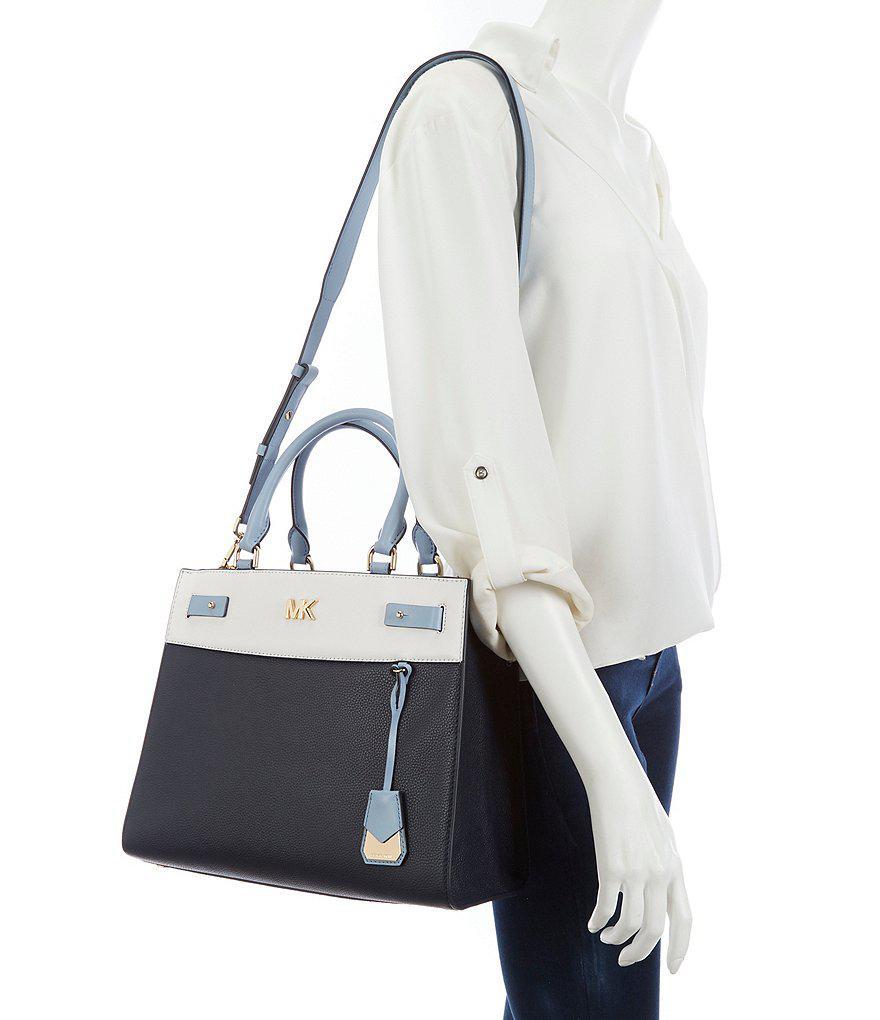 6dbd1ba1cb3e ... discount code for lyst michael michael kors reagan colorblock large  satchel in blue 1c27e 98a6a
