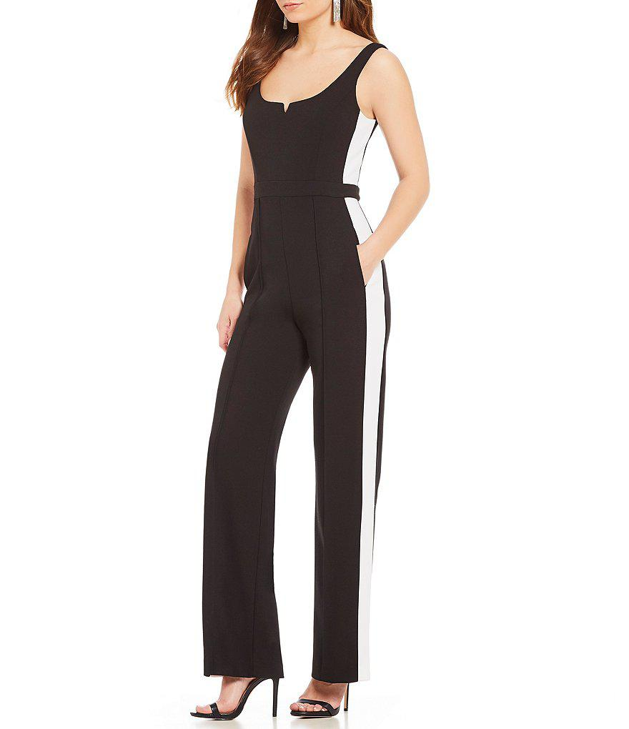 3680e0404a9de Donna Morgan Athletic Stripe Jumpsuit in Black - Lyst