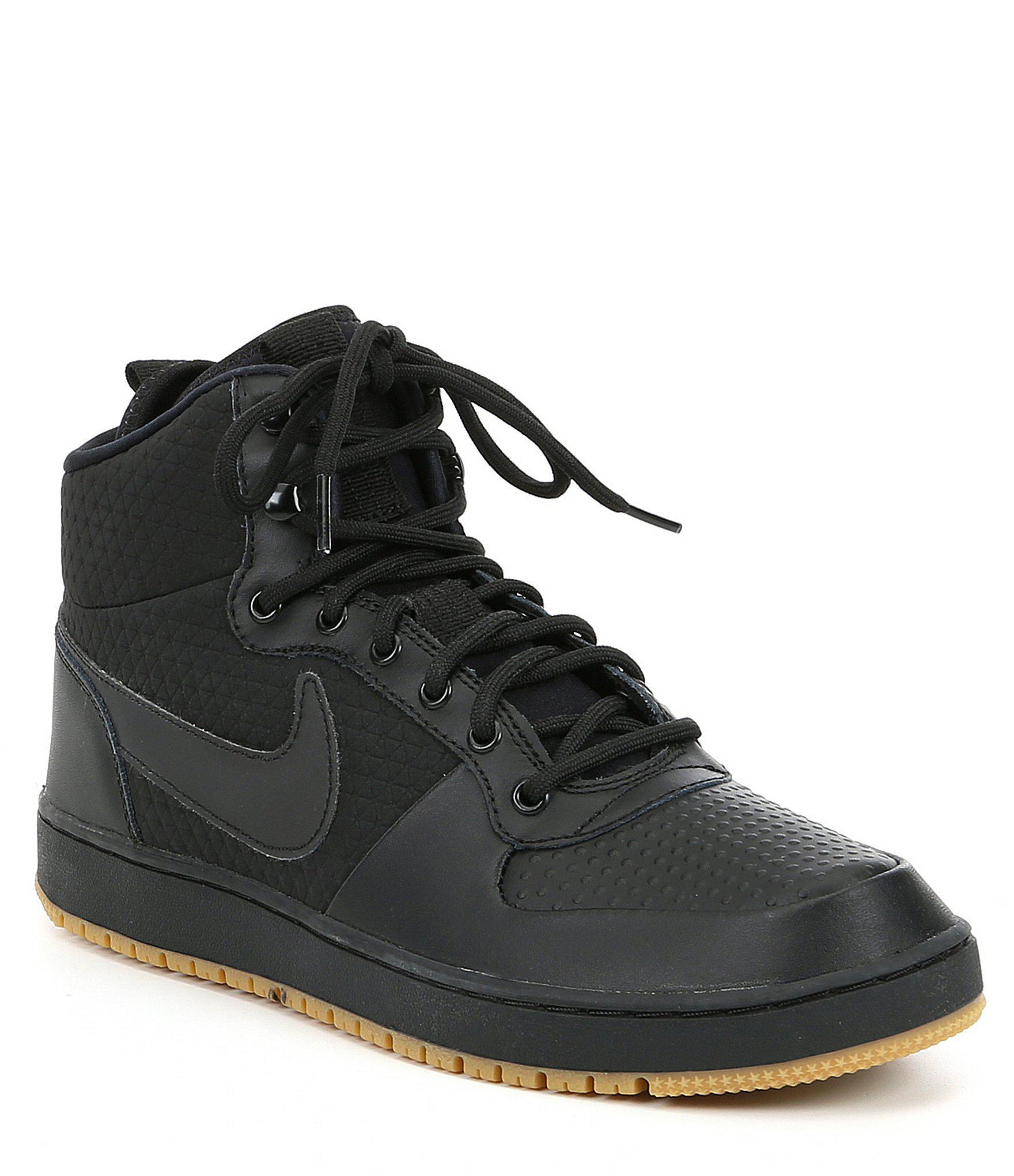 Nike Men's Ebernon Mid Black Leather Shoes