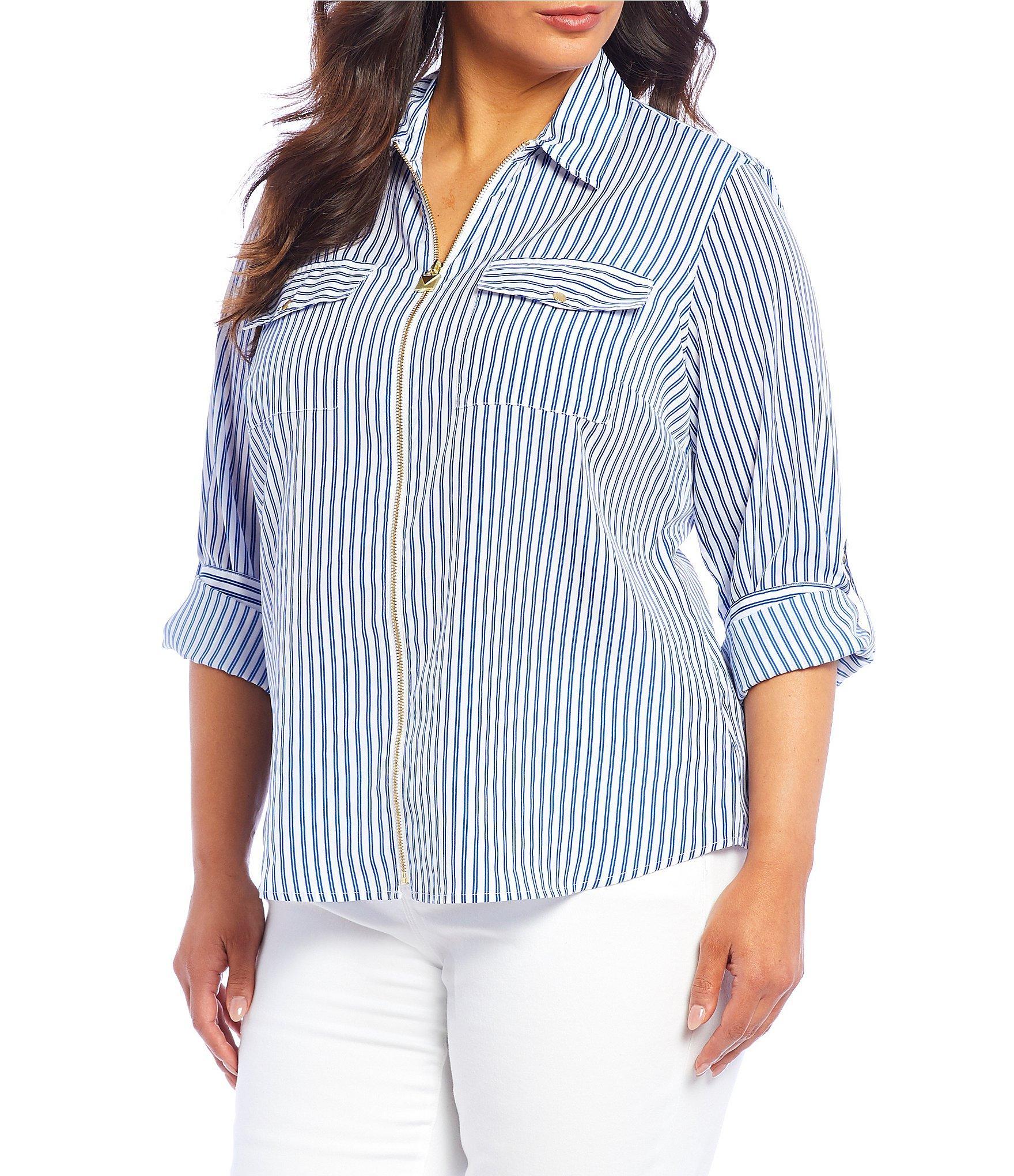 bd9868d7382 Women's White Plus Size Railroad Stripe Print Roll-sleeve Zip Front Top