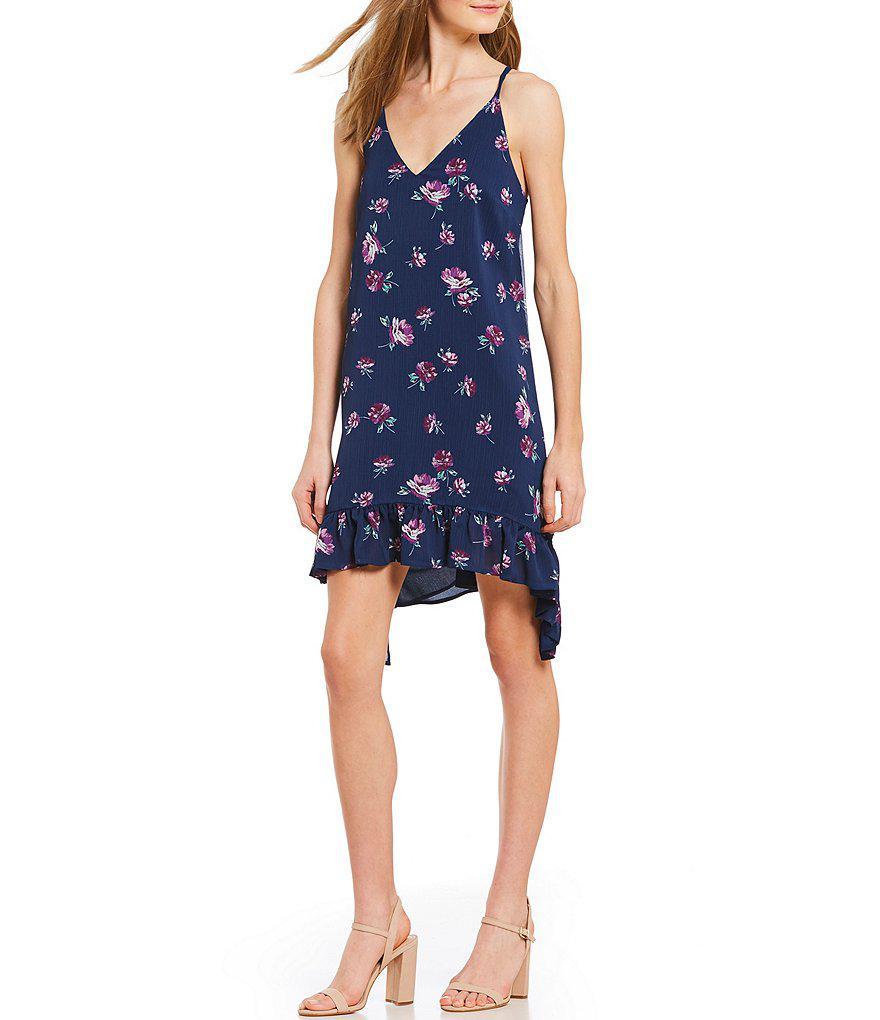50d61bee1a7 Lyst - Gianni Bini Ashley Chiffon Floral Print Ruffle Hem Dress in Blue