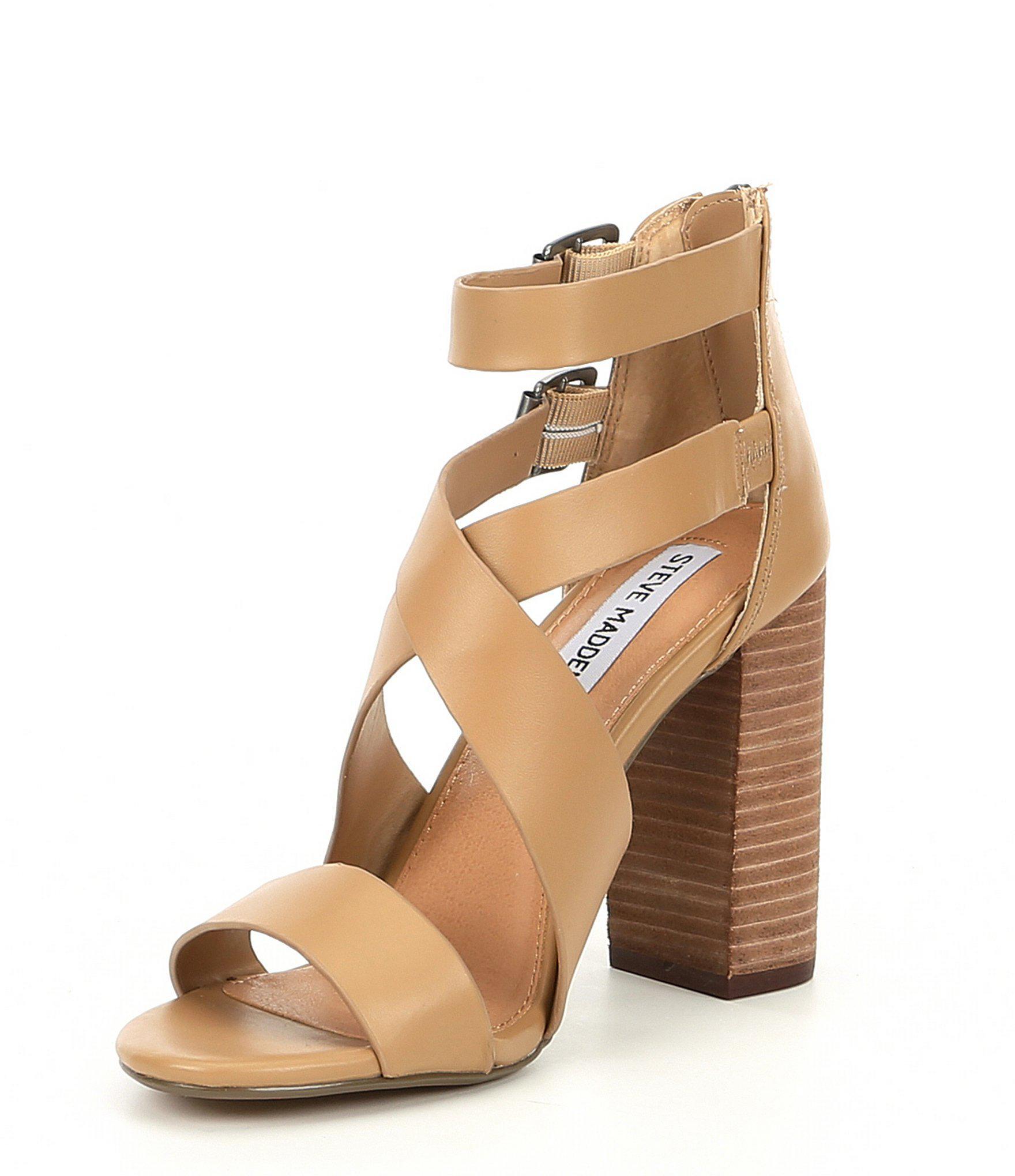 4a40136aa3e Lyst - Steve Madden Sundance Strappy Leather Block Heel Sandals