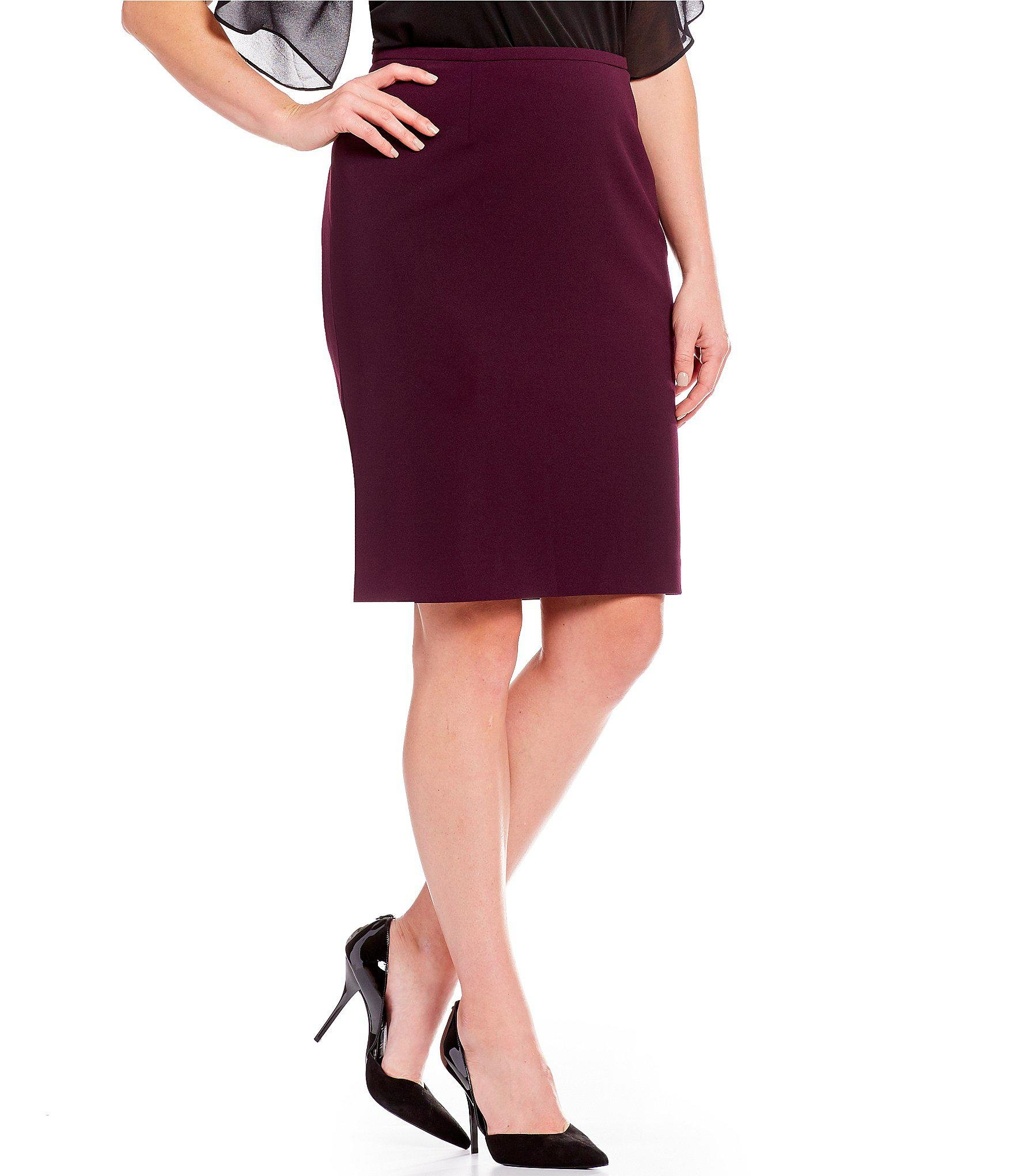 dc9c53d0c9 Lyst - Calvin Klein Plus Size Scuba Crepe Pencil Skirt in Purple