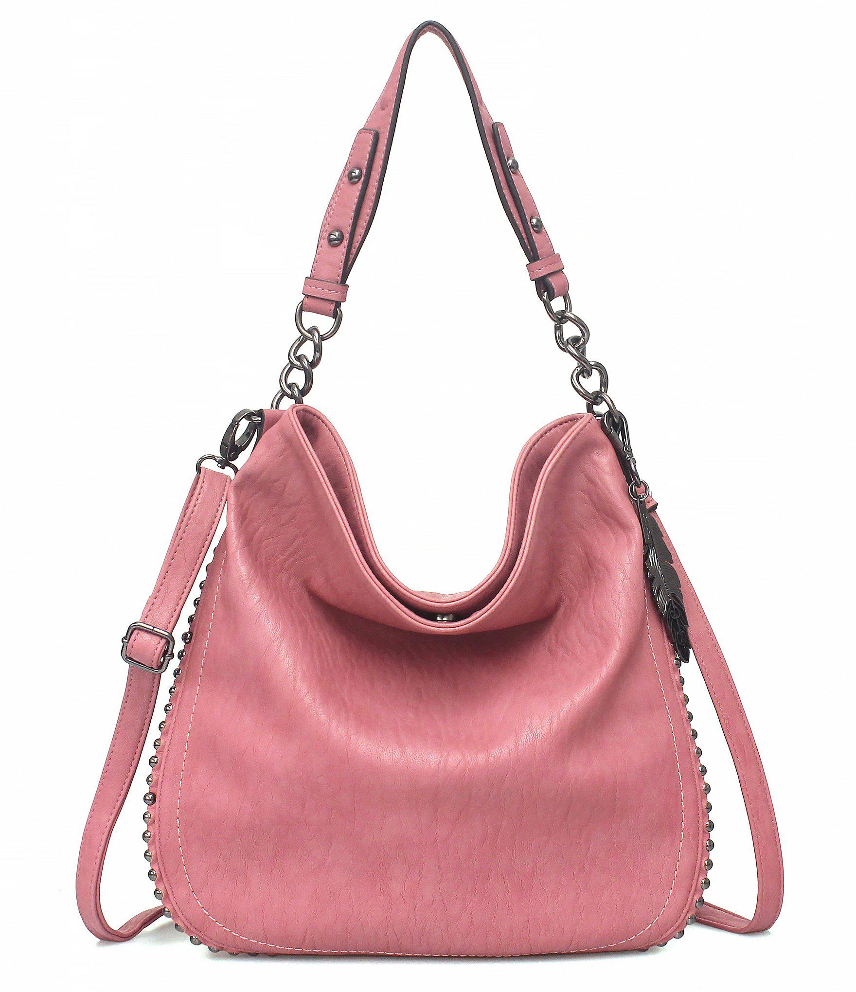 Jessica Simpson Women S Pink Camile Convertible Side Studded Hobo Bag