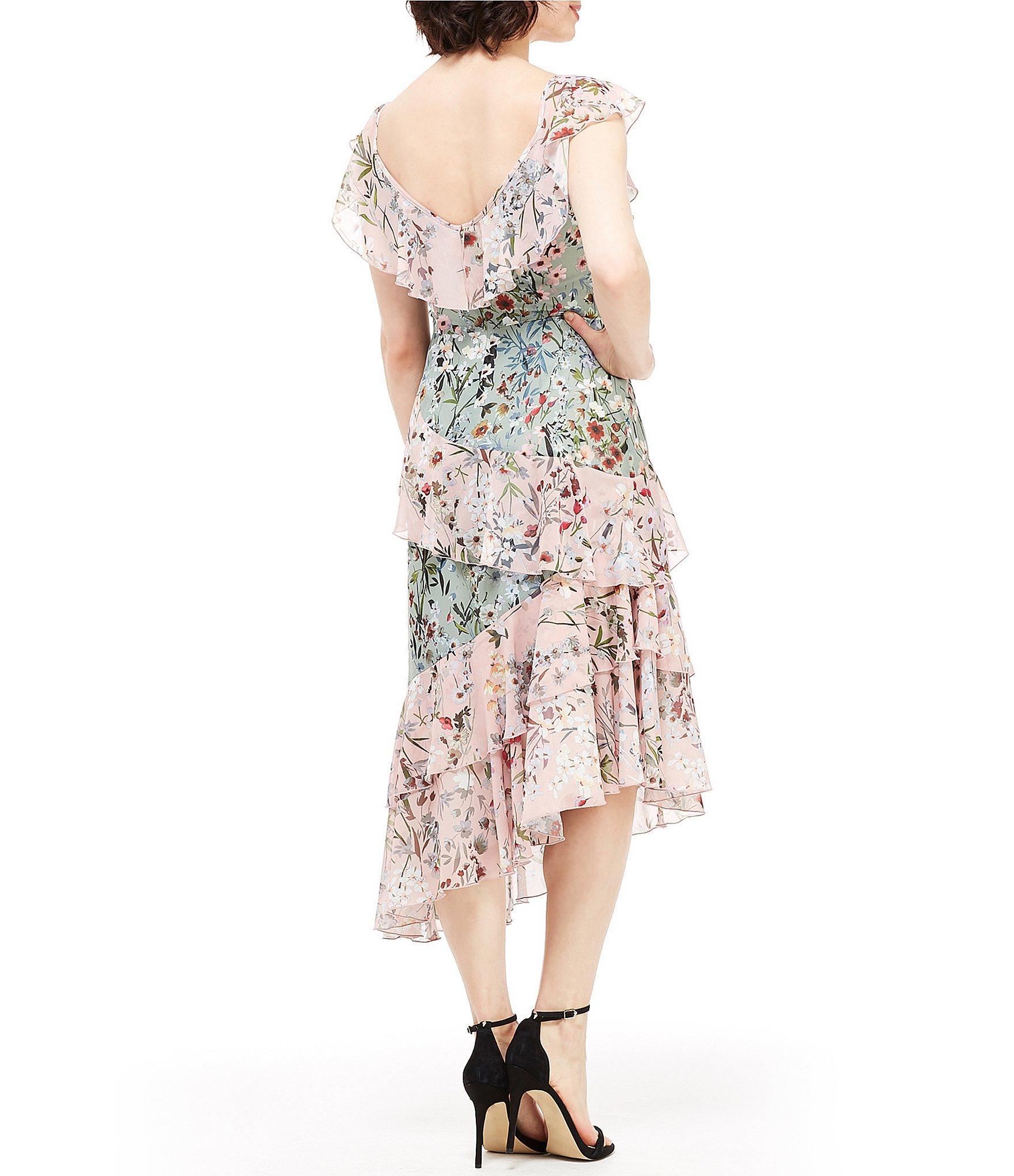 Maggy London - Multicolor Floral Print Ruffle Asymmetrical Hem Midi Dress -  Lyst. View fullscreen 1b8801cd8