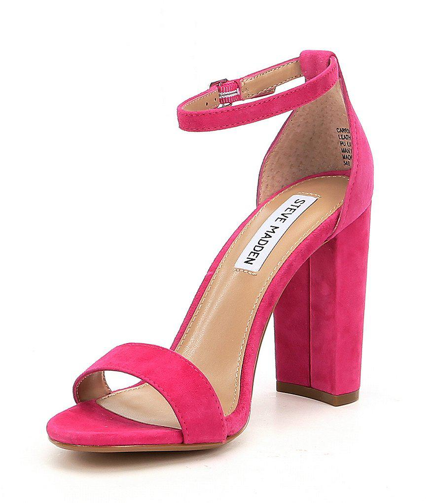 8a4a50559bf Steve Madden Carrson Patent Banded Ankle Strap Block Heel Sandals in ...
