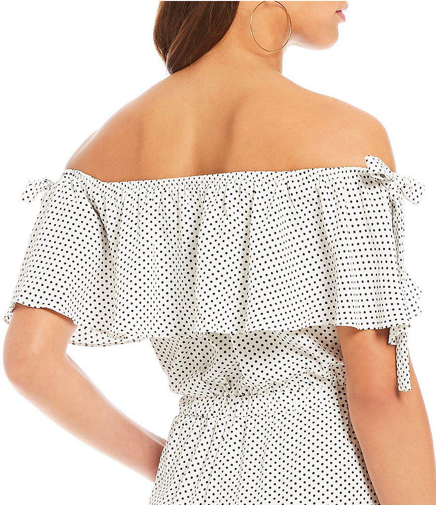 190cfedeb2ec Lyst - Lucy Paris Off The Shoulder Tie Detail Polka Dot Jumpsuit in ...