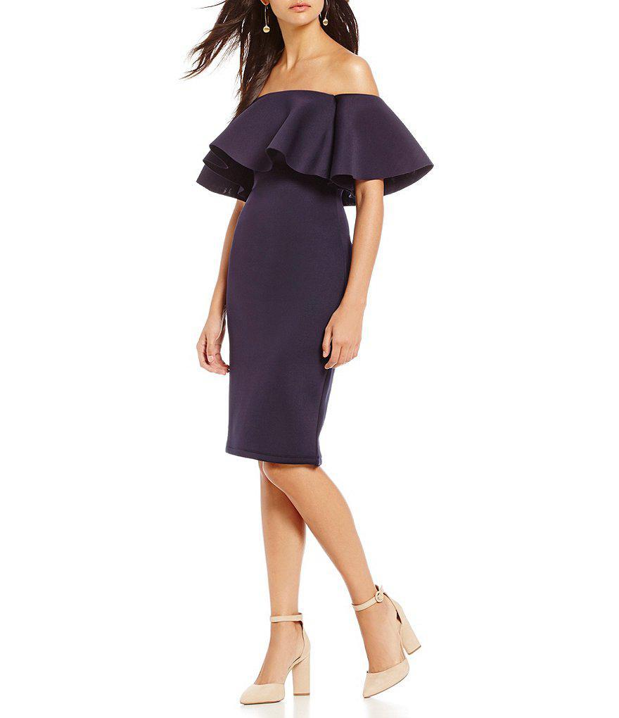 b9e2b317aad Lyst - Gianni Bini Chrissy Off-the-shoulder Scuba Dress
