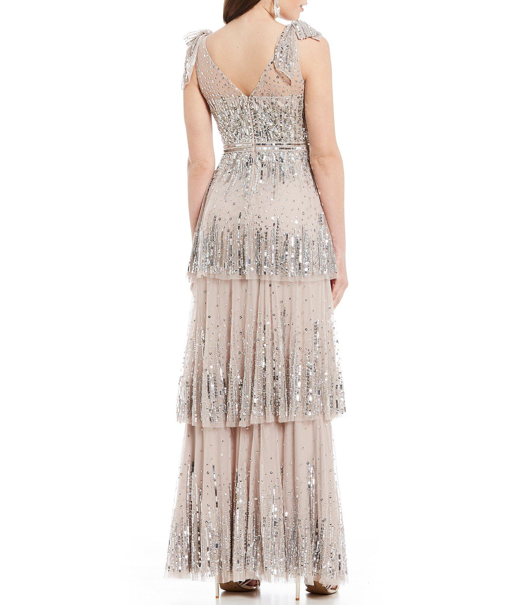 81b366933d5 Gianni Bini - Multicolor Skyler Illusion Mesh Tiered Sequin Bow Detail Gown  - Lyst. View fullscreen