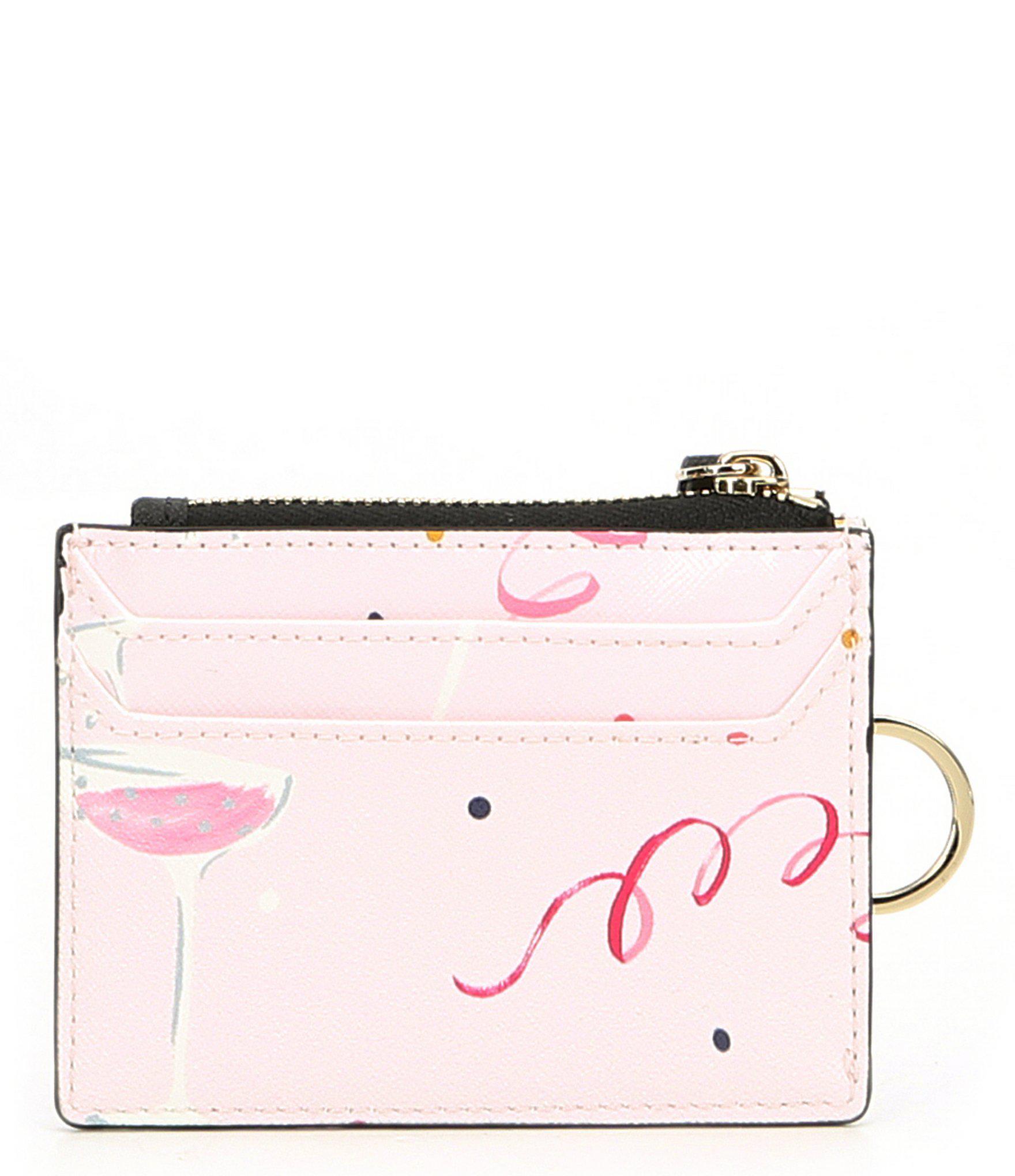 Kate Spade New York dashing beauty lalena Card Case Wallet Pink Multi color