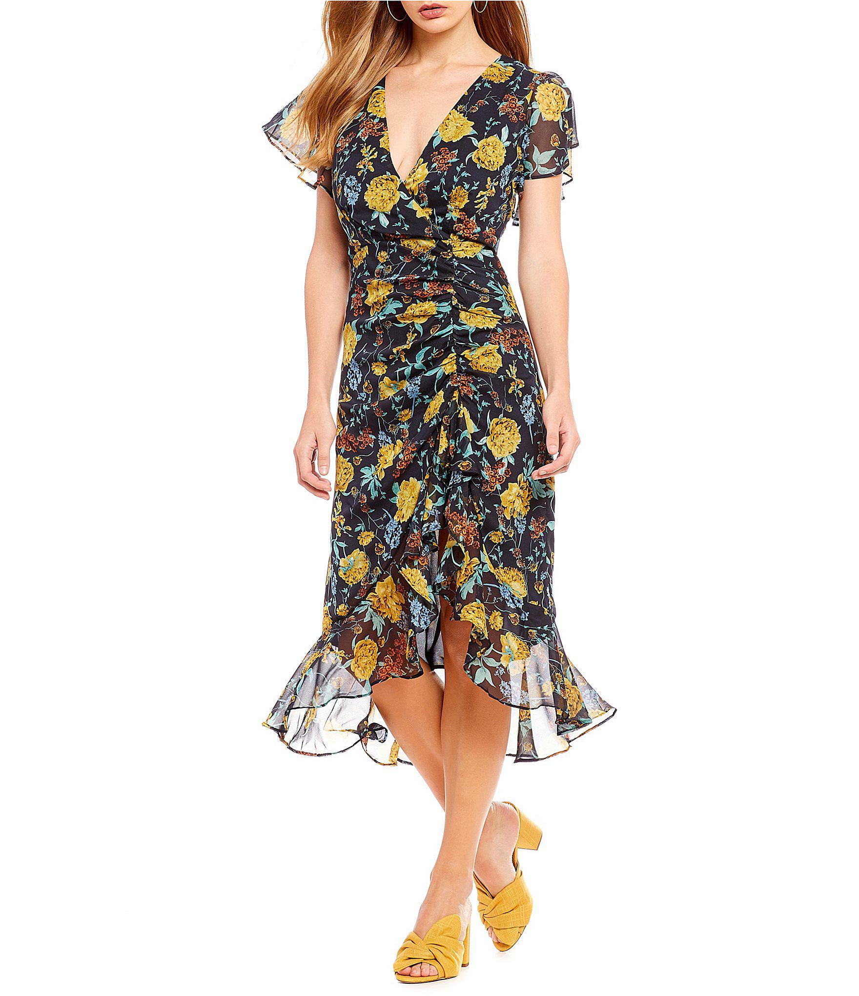 d46fffbc5e Lucy Paris Isabella Ruched Floral Print Ruffle Hem Midi Dress in ...