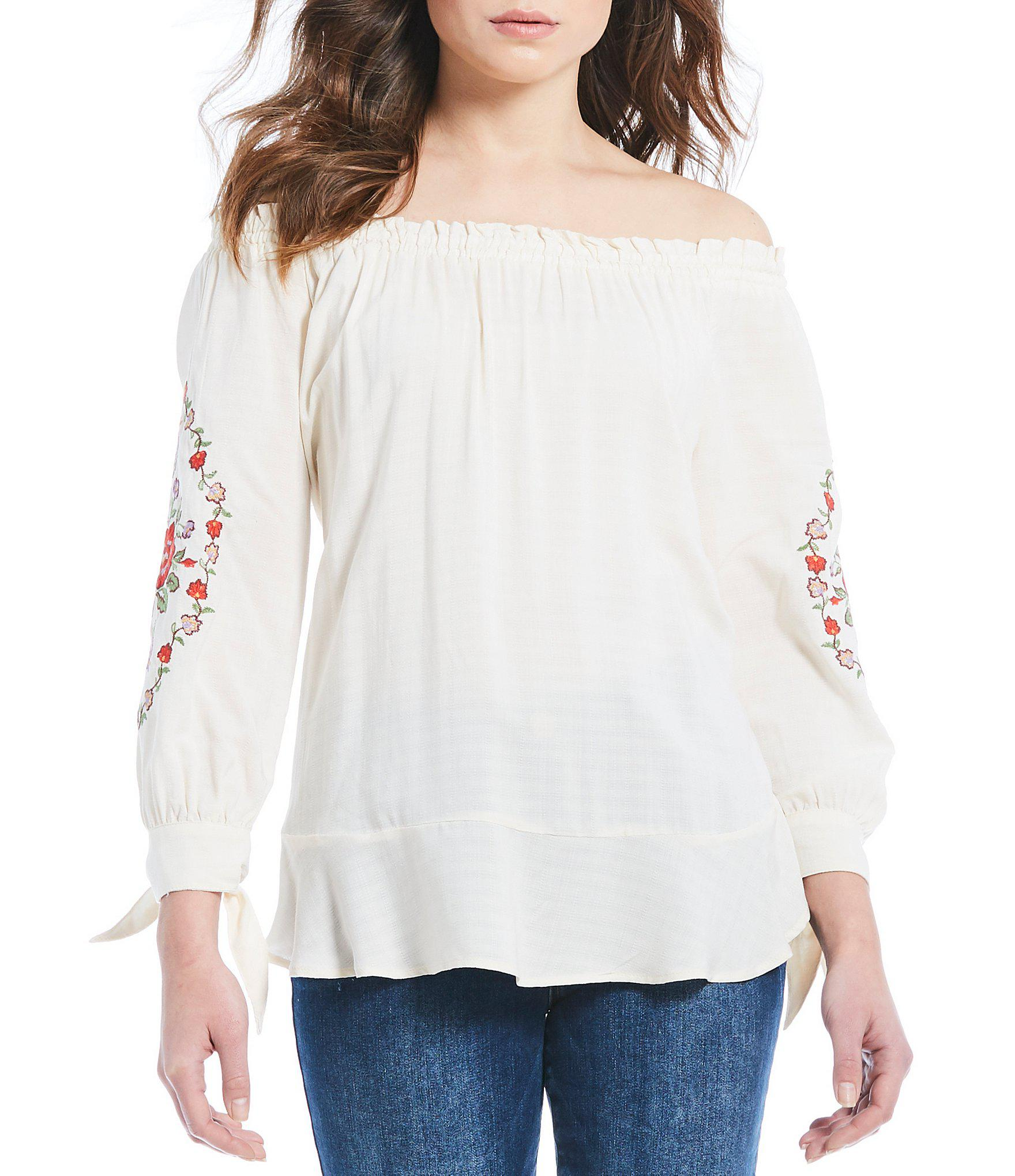 1a682fb91fc Lyst - Democracy Embroidered Off-the-shoulder Floral Embroidered Tie ...