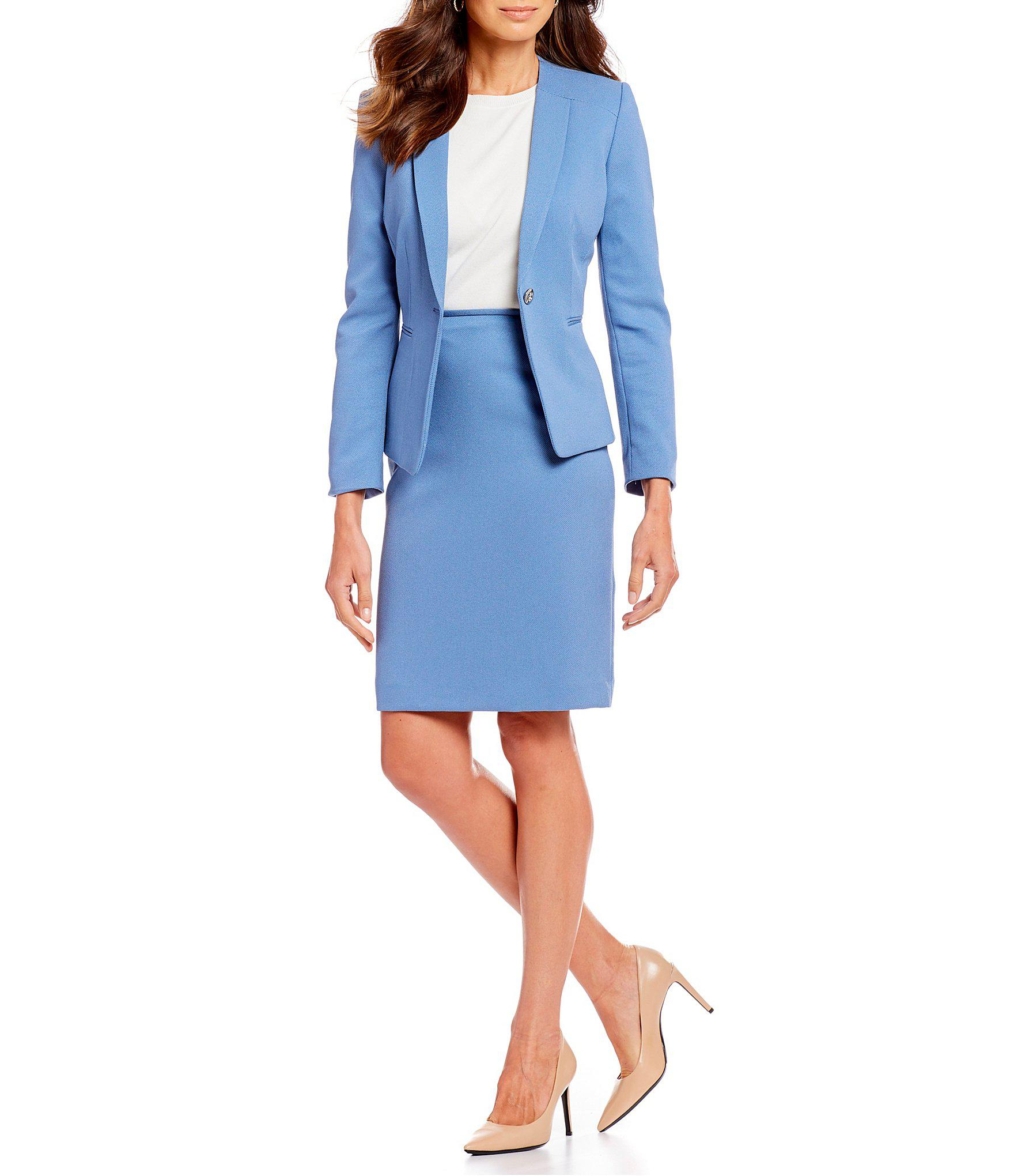 894507a458c Tahari Twill Skirt Suit With Collarless Jacket in Blue - Lyst