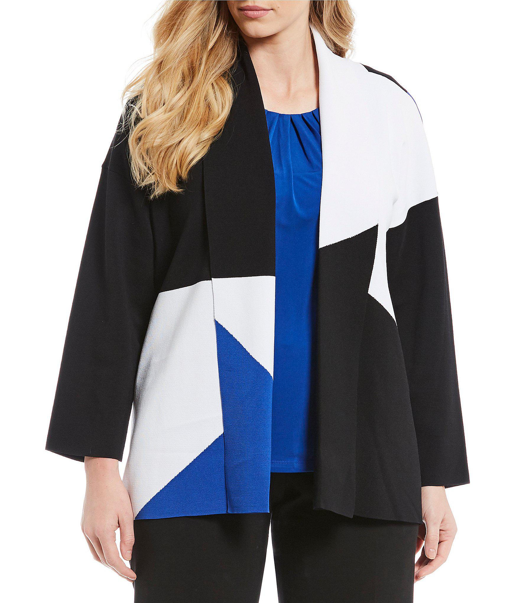 97398d495c2 Lyst - Calvin Klein Plus Size Knit Colorblock Open Front Jacket in Black