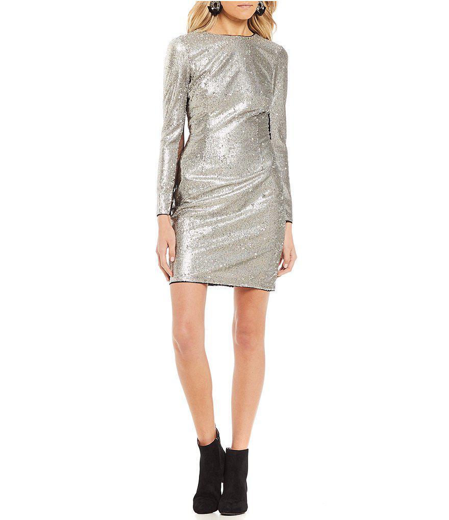 9f6a72d427 Lyst - Gianni Bini Gia Long Sleeve Sequin Dress in Metallic