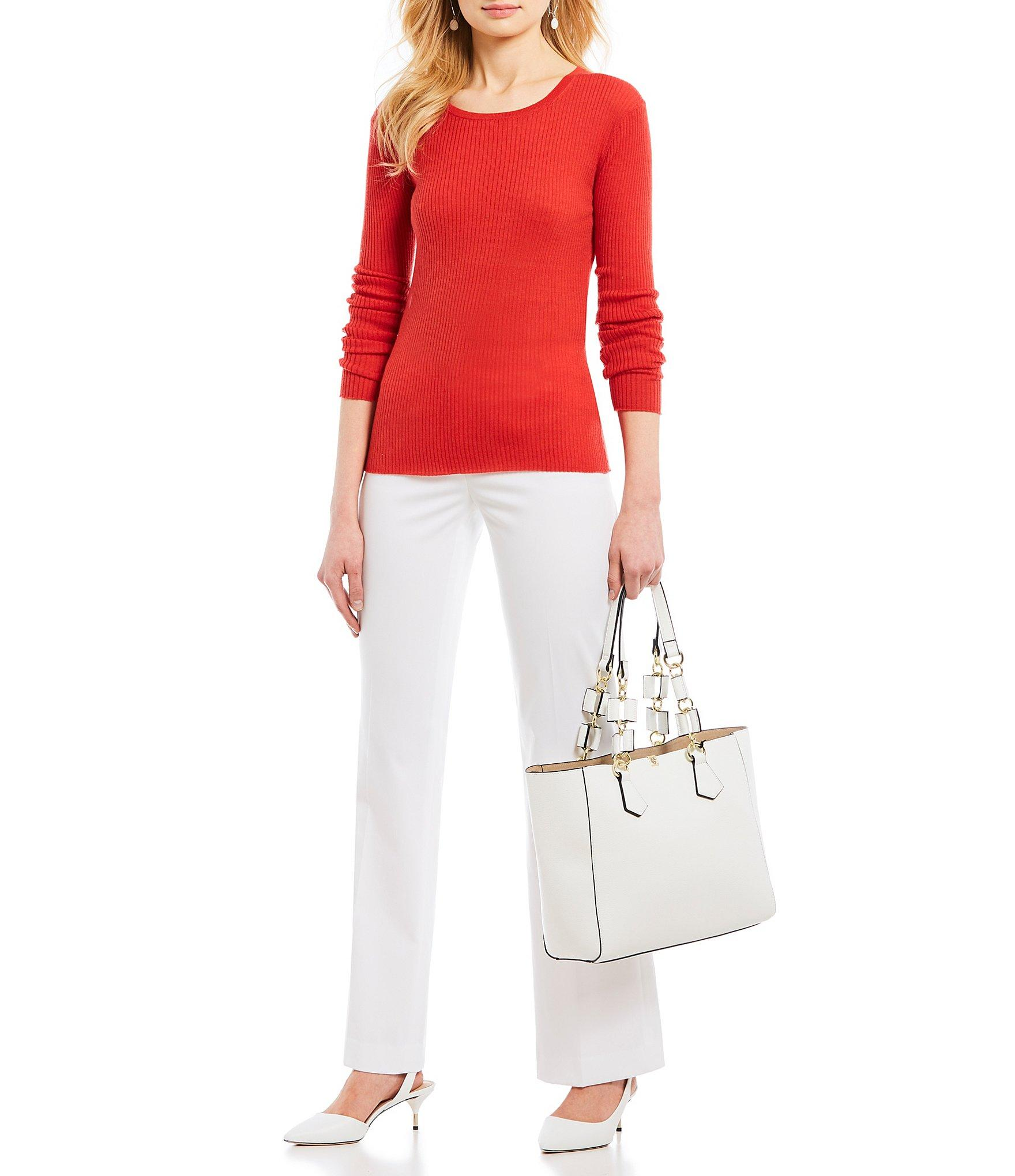 275a4996eaf Antonio Melani - Red Stephanie Long Sleeve Ribbed Knit Top - Lyst. View  fullscreen