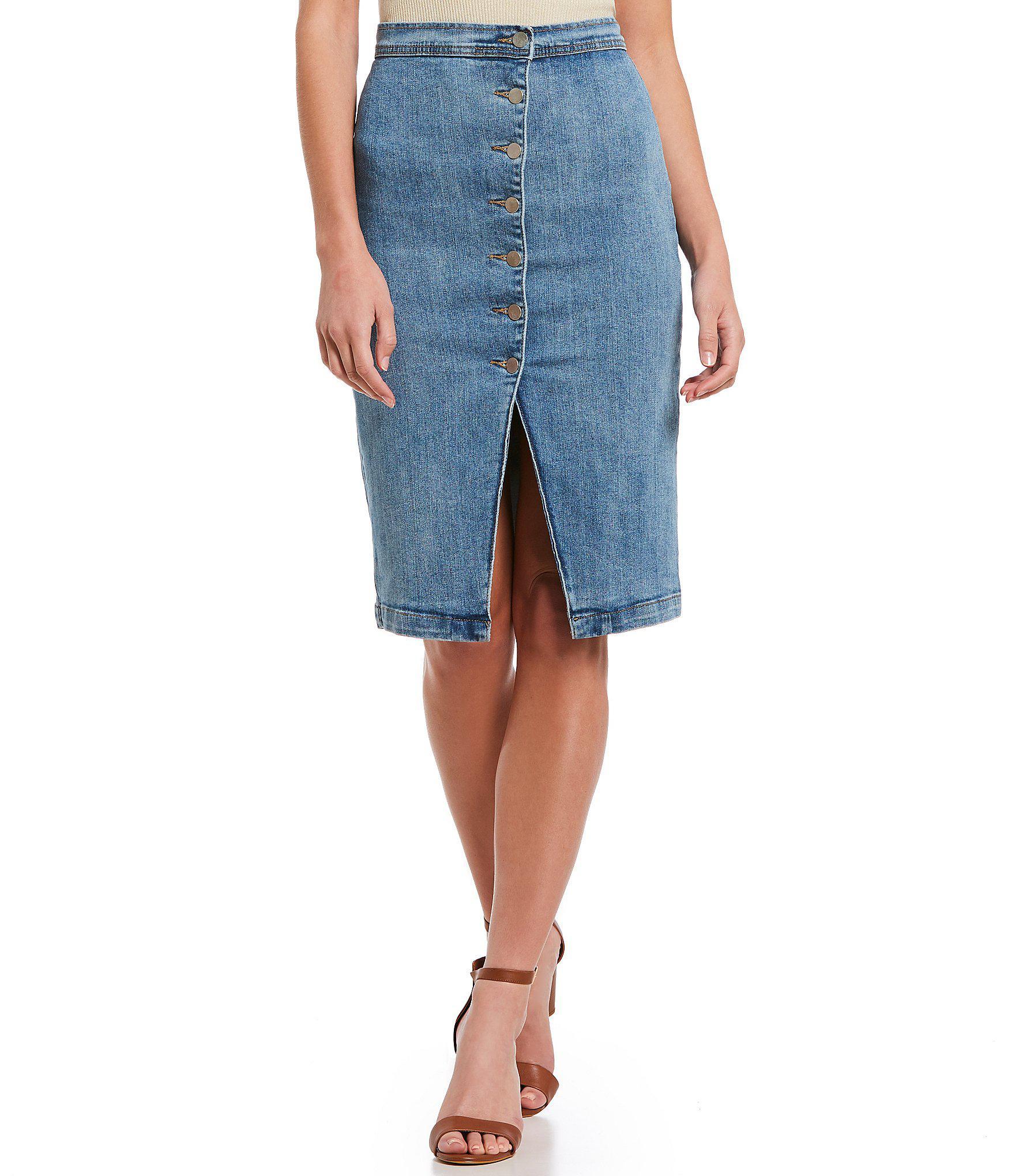 67a8d5d1d3 Gianni Bini Lacey Asymmetrical Denim Midi Skirt in Blue - Lyst
