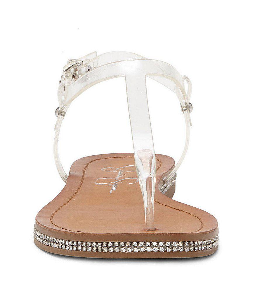 Jessica Simpson Brimah Transparent Vinyl Rhinestone Trimmed T-Strap Thong Sandals gbJEzBSGQ0
