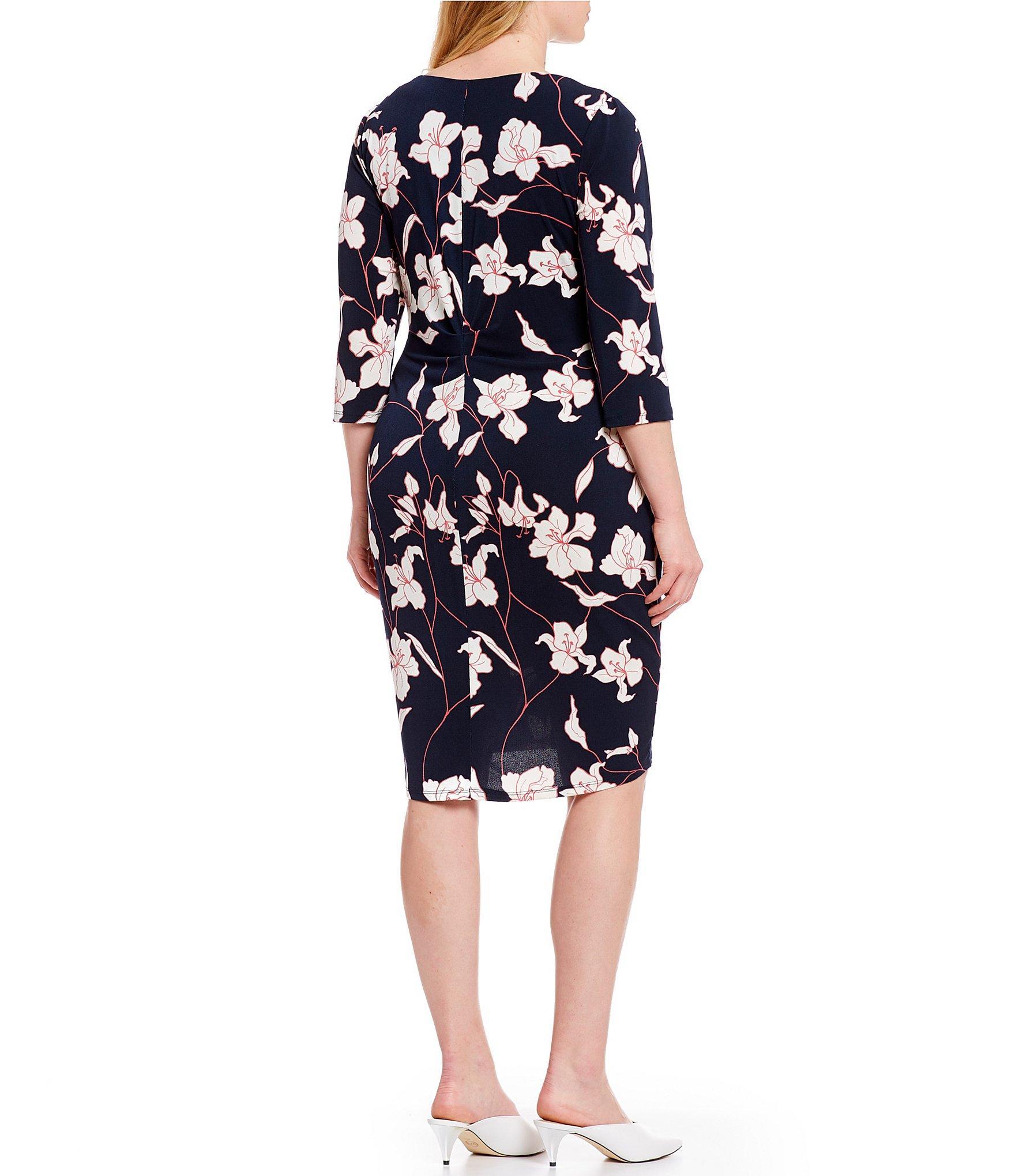 c8fec6dfa2f Adrianna Papell - Blue Plus Size Floral Print 3 4 Sleeve Sheath Dress -  Lyst. View fullscreen